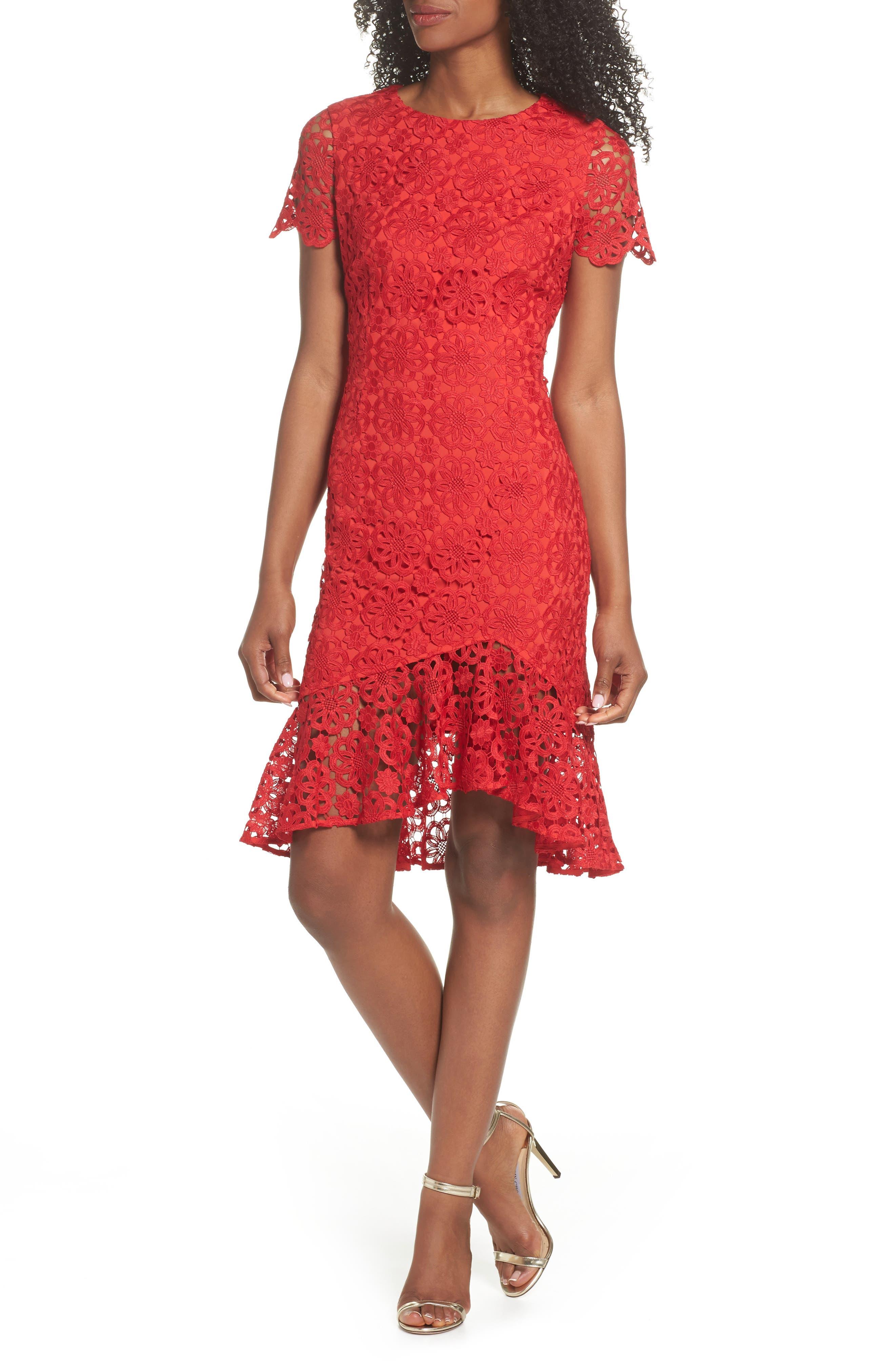 Ruffle Hem Lace Sheath Dress,                             Main thumbnail 1, color,                             Red