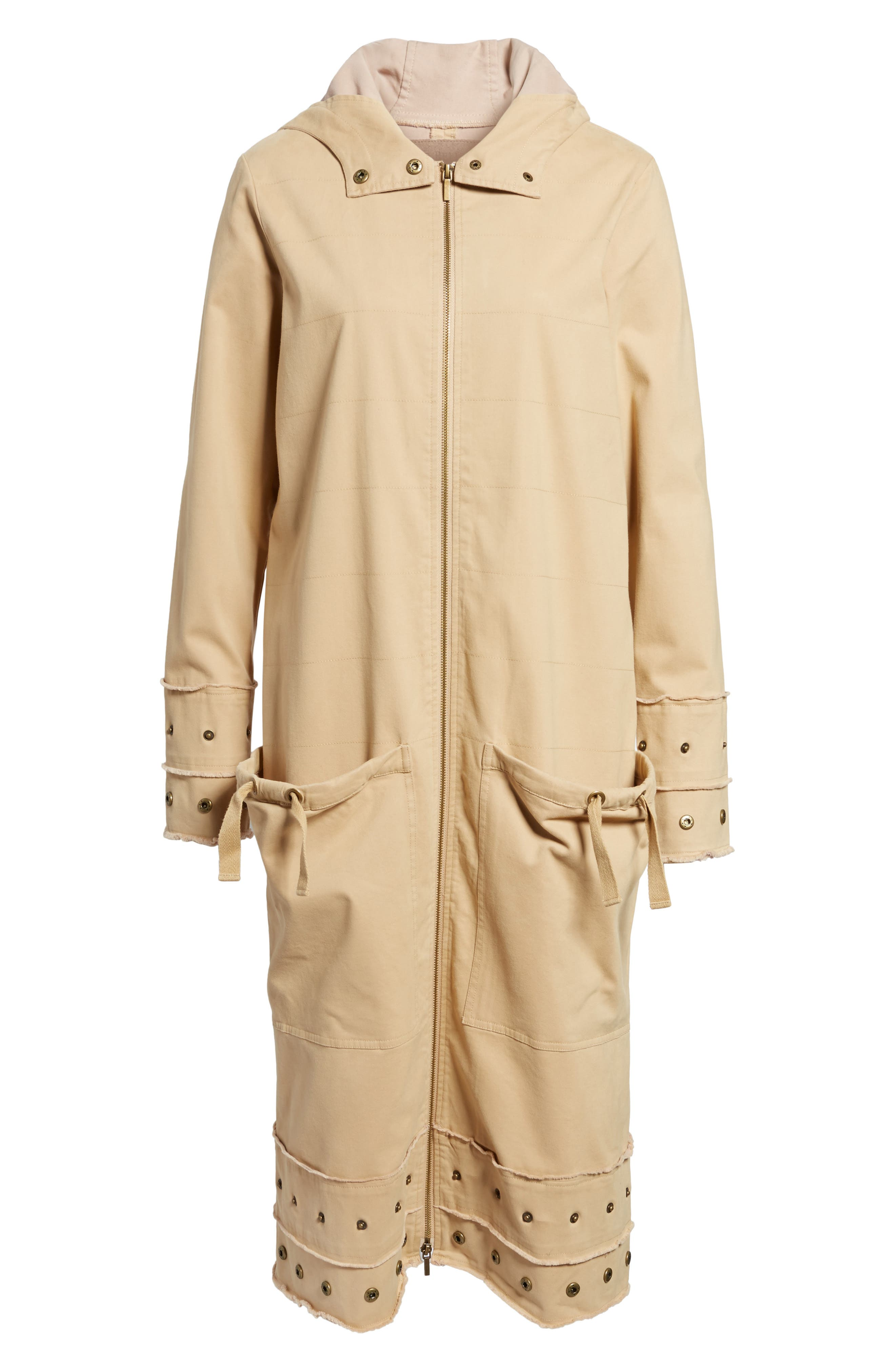 Snap Detail Trench Coat,                             Alternate thumbnail 6, color,                             Honey Taupe