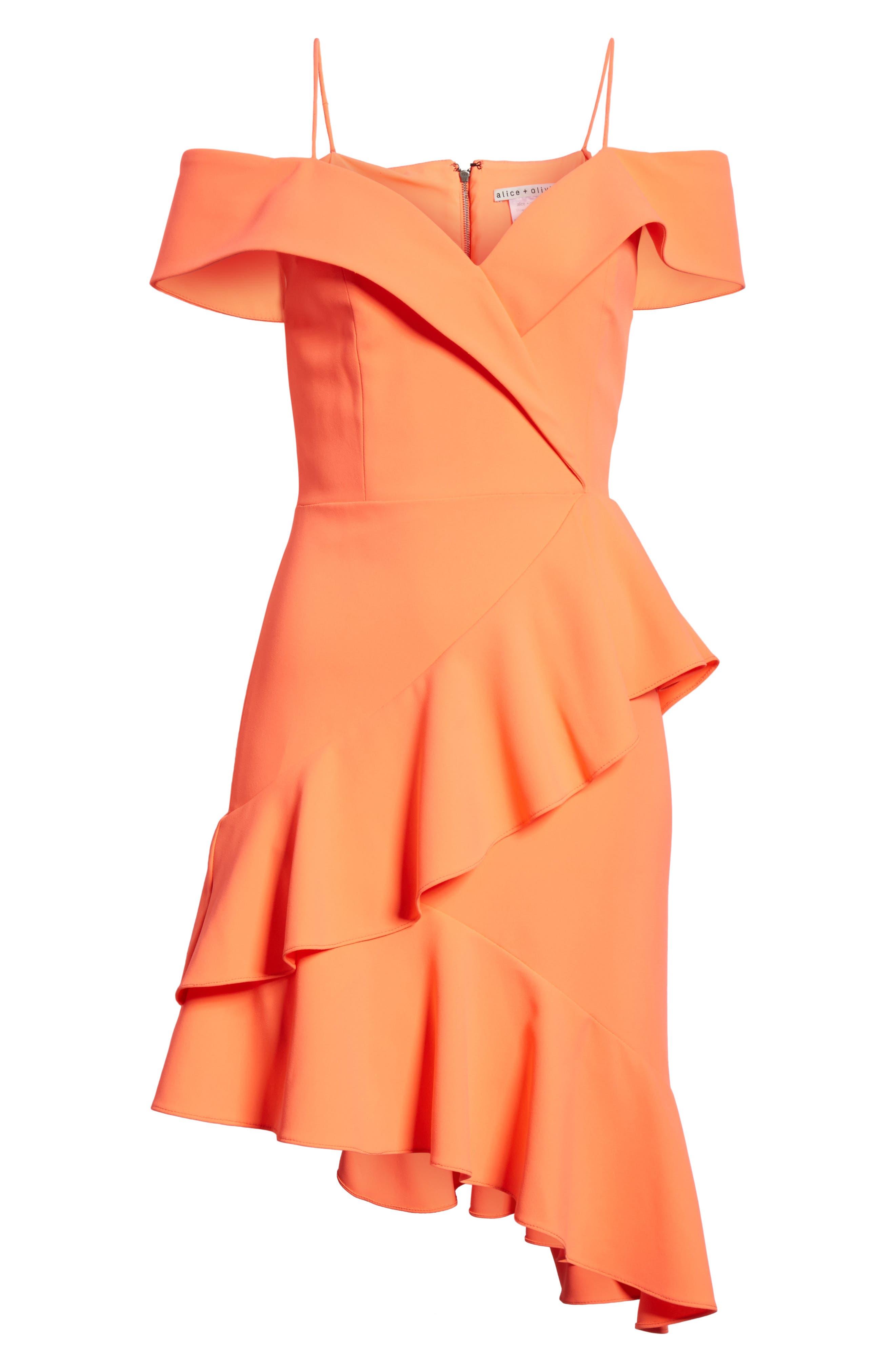 Vita Cold Shoulder Dress,                             Alternate thumbnail 6, color,                             Neon Coral