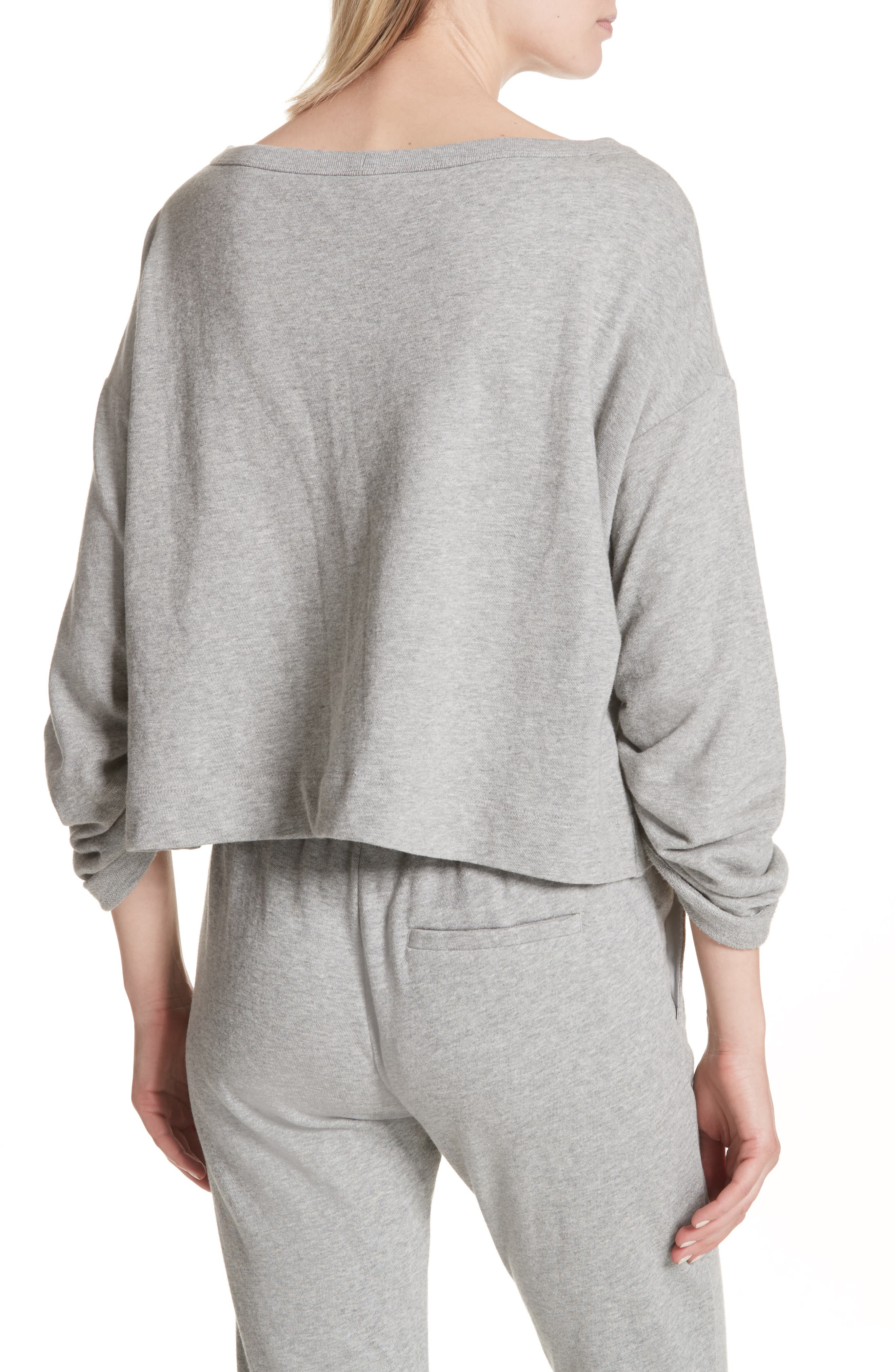Ember Ruched Sleeve Sweatshirt,                             Alternate thumbnail 2, color,                             Heather Grey