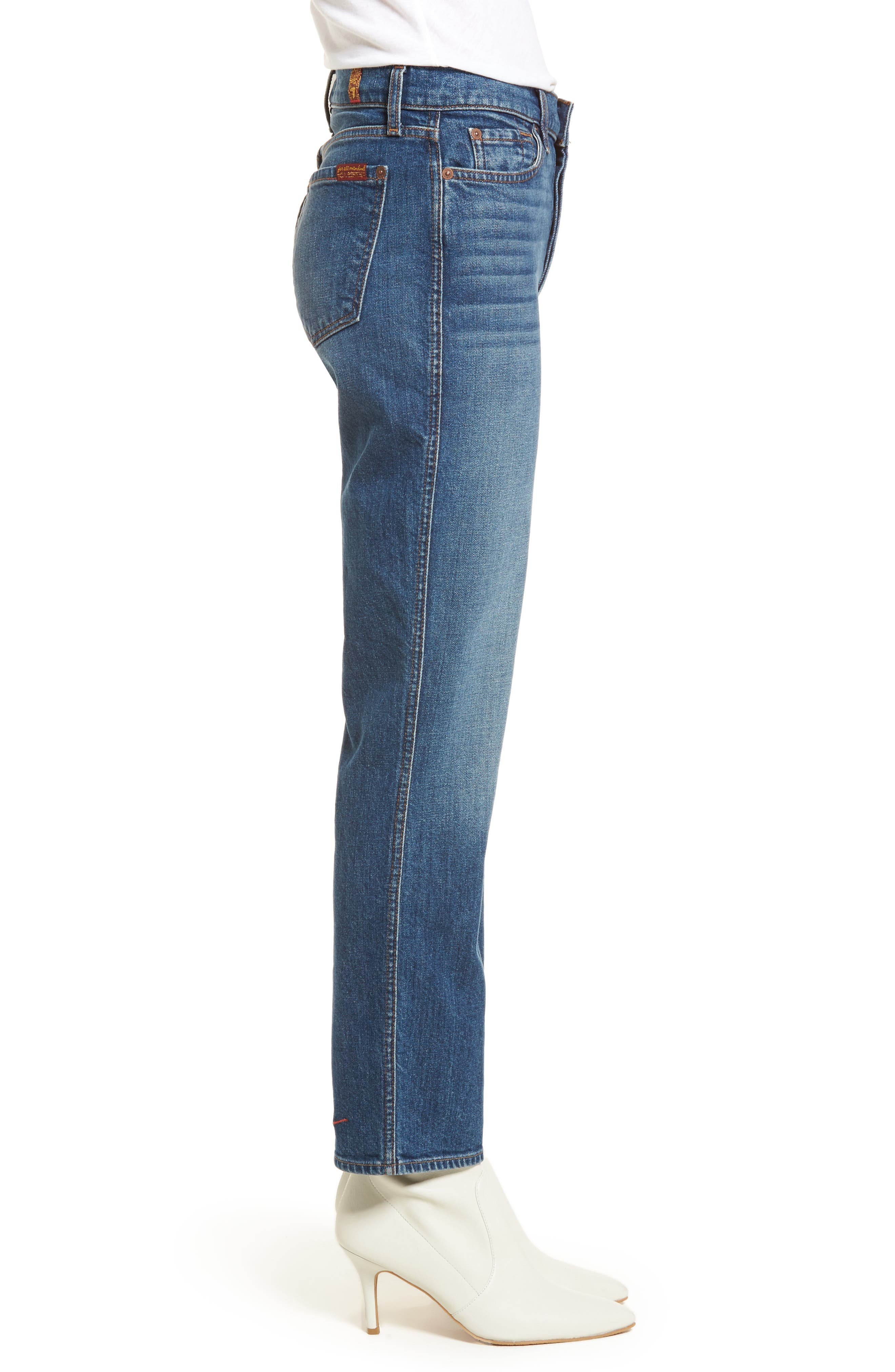 Edie High Waist Crop Straight Leg Jeans,                             Alternate thumbnail 3, color,                             Montreal W/ Embroidery