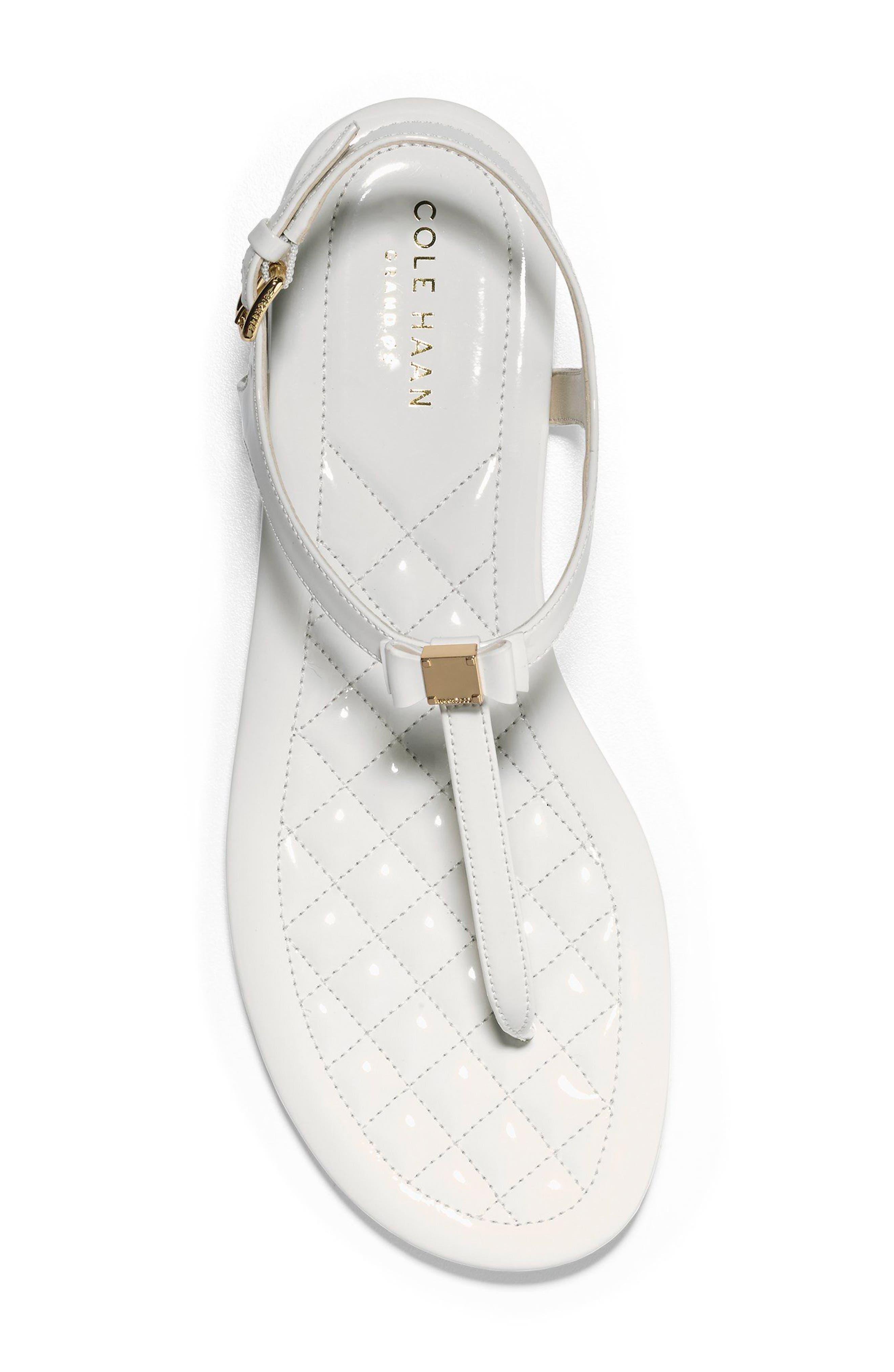 Tali Bow Sandal,                             Alternate thumbnail 5, color,                             Optic White Patent