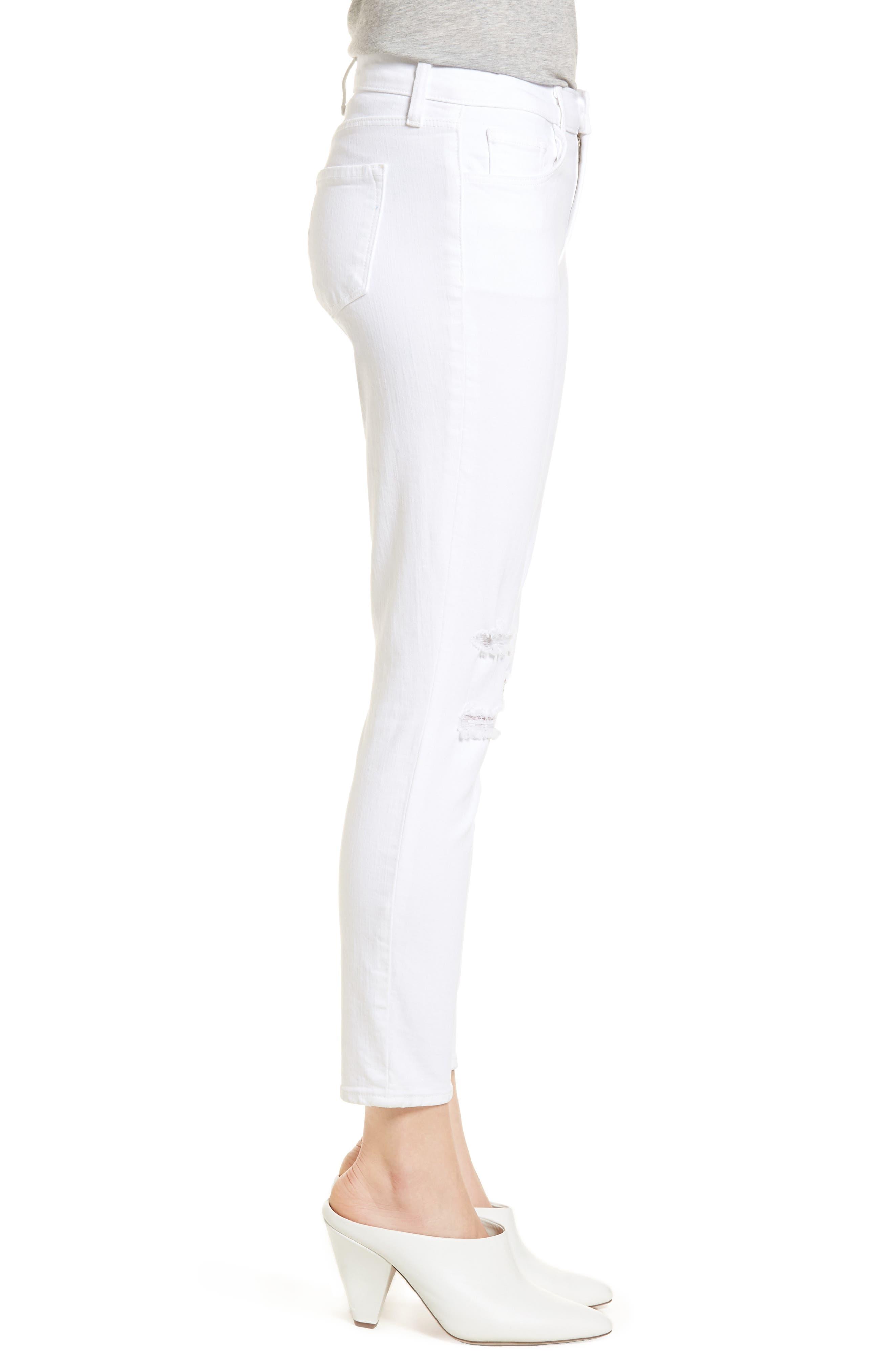 Mid-Rise Capri Skinny Jeans,                             Alternate thumbnail 3, color,                             White Mercy