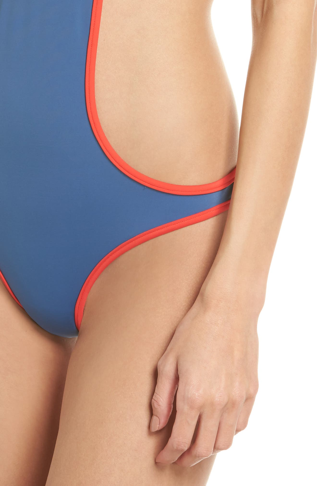The Carolyn Cutout One-Piece Swimsuit,                             Alternate thumbnail 4, color,                             Blue