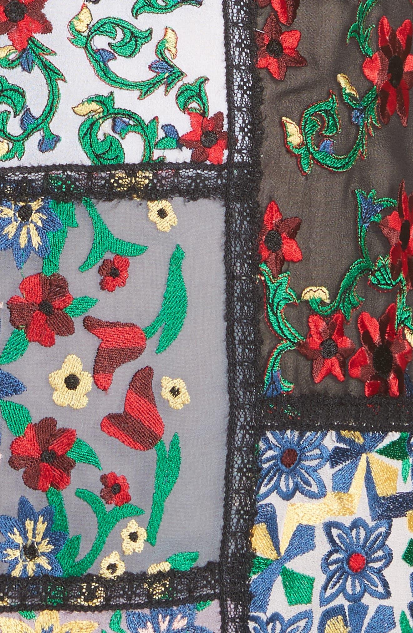 Marcelina Embroidered Mini Dress,                             Alternate thumbnail 5, color,                             Multi