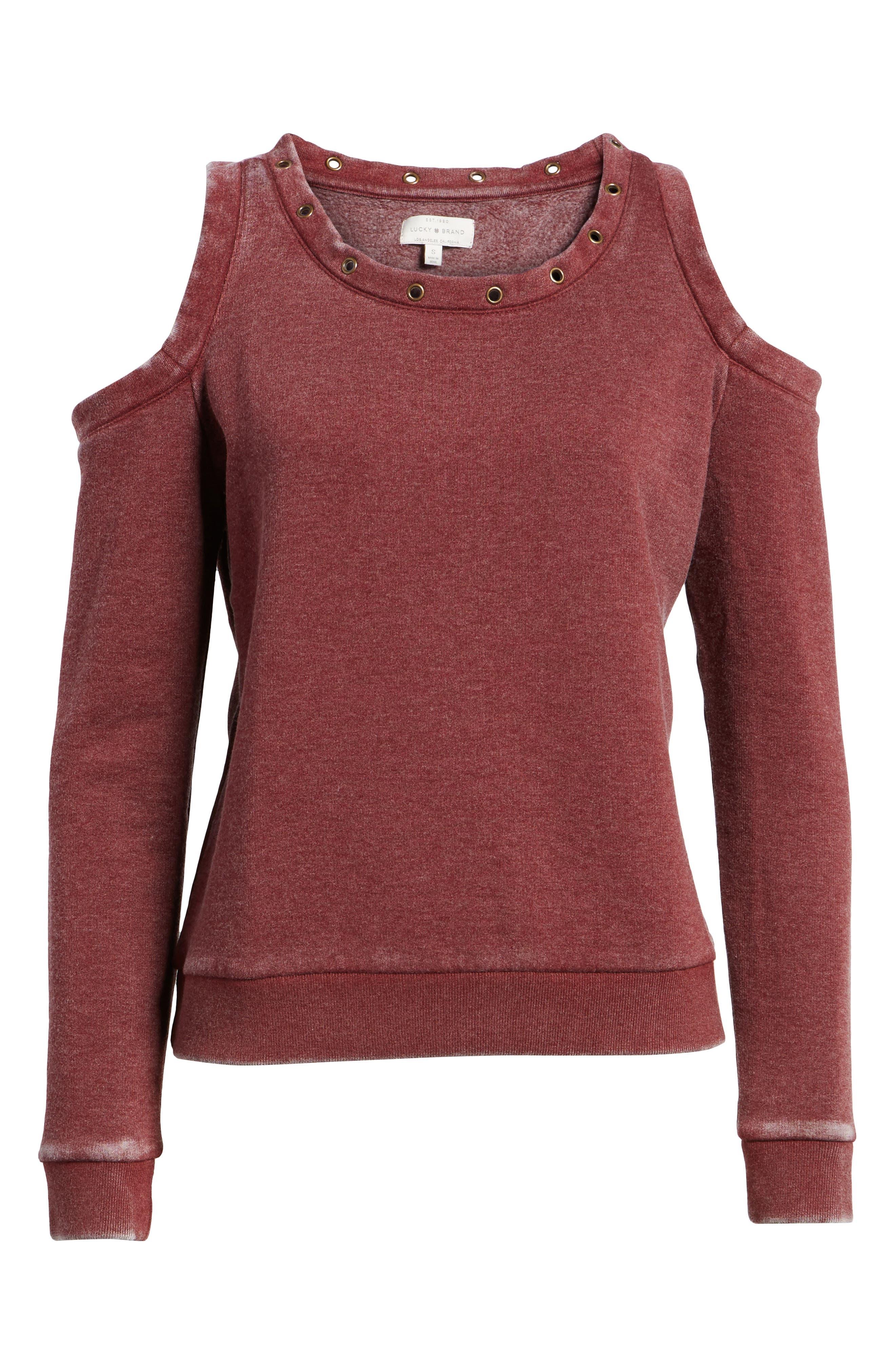 Cold Shoulder Sweatshirt,                             Alternate thumbnail 6, color,                             Burgundy