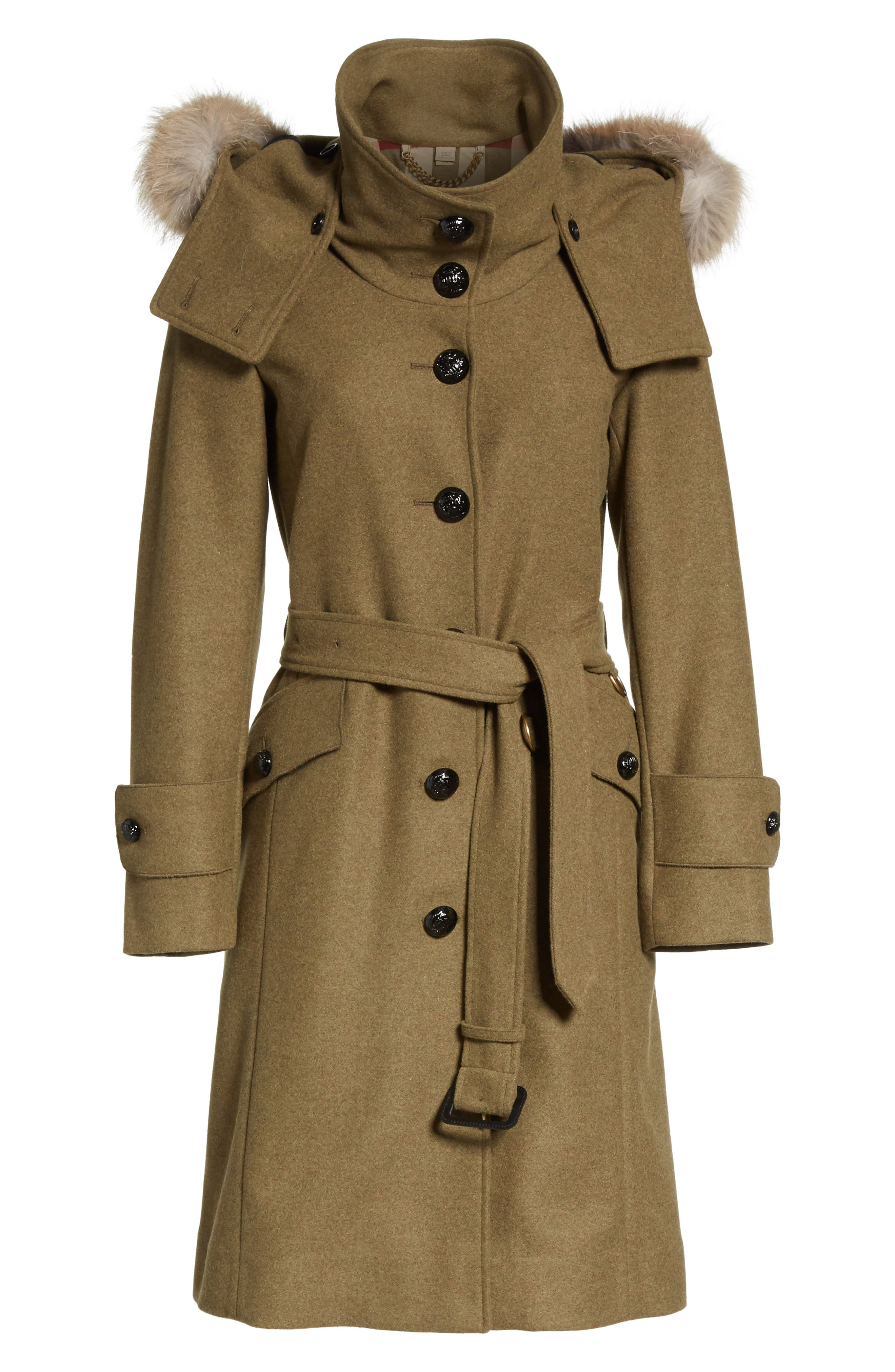 Alternate Image 6  - Burberry Claybrooke Wool Blend Coat with Removable Genuine Fox Fur Trim