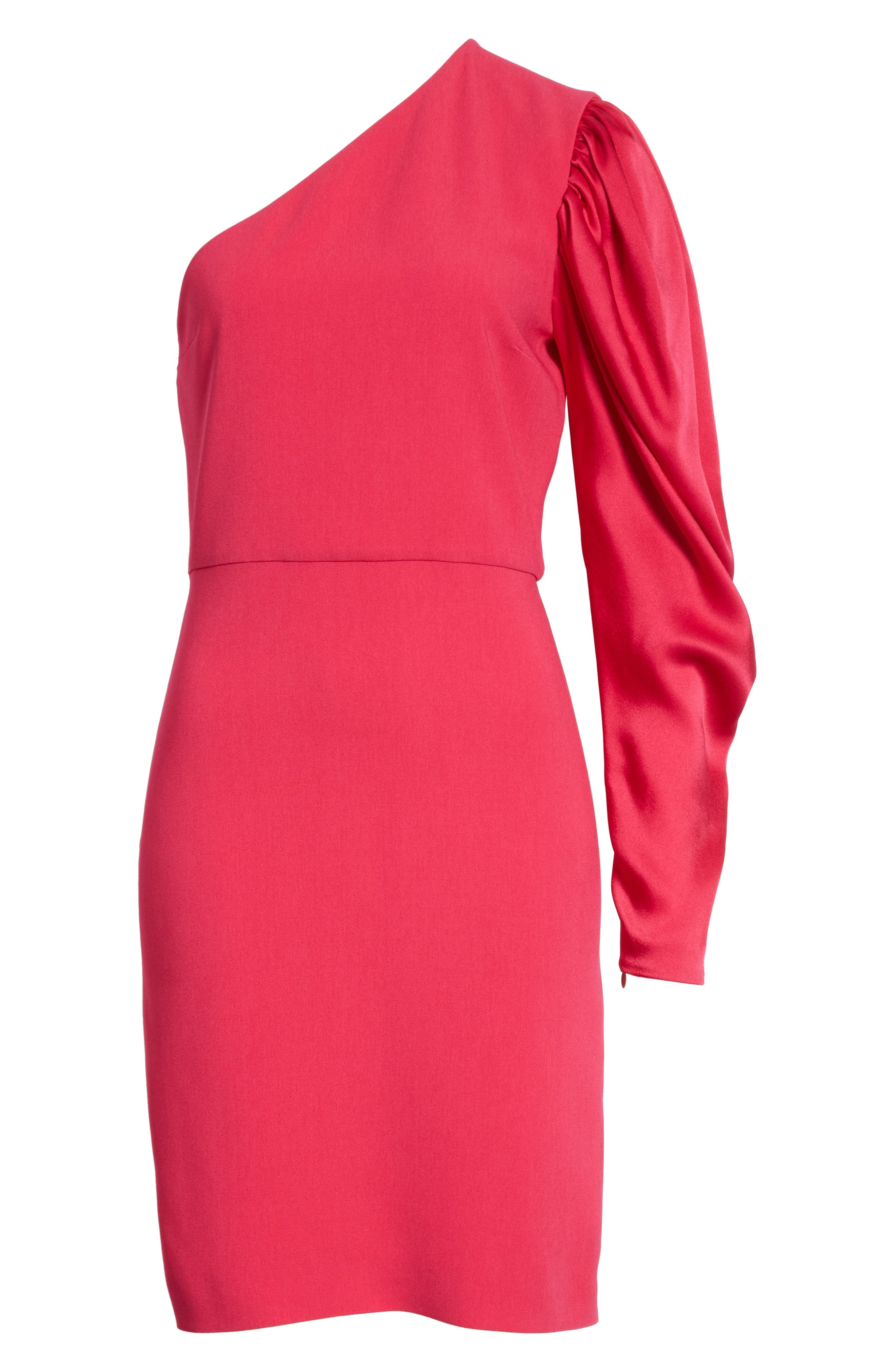 One-Shoulder Puff Sleeve Cady Dress,                             Alternate thumbnail 7, color,                             Bubble Gum