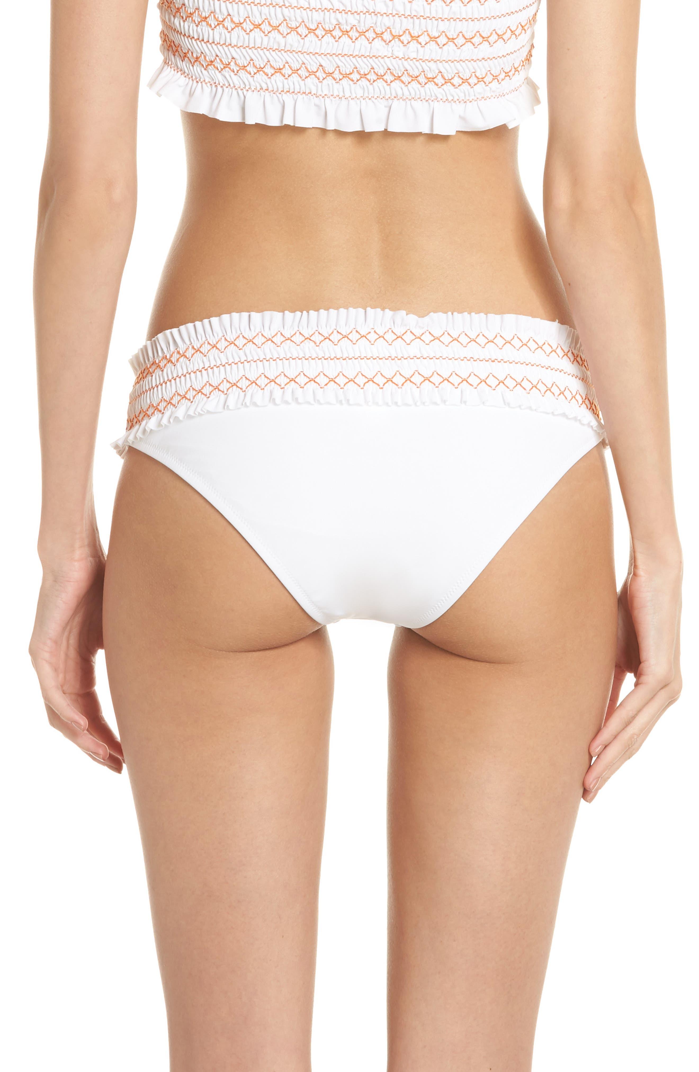 Alternate Image 2  - Tory Burch Costa Smocked Hipster Bikini Bottoms