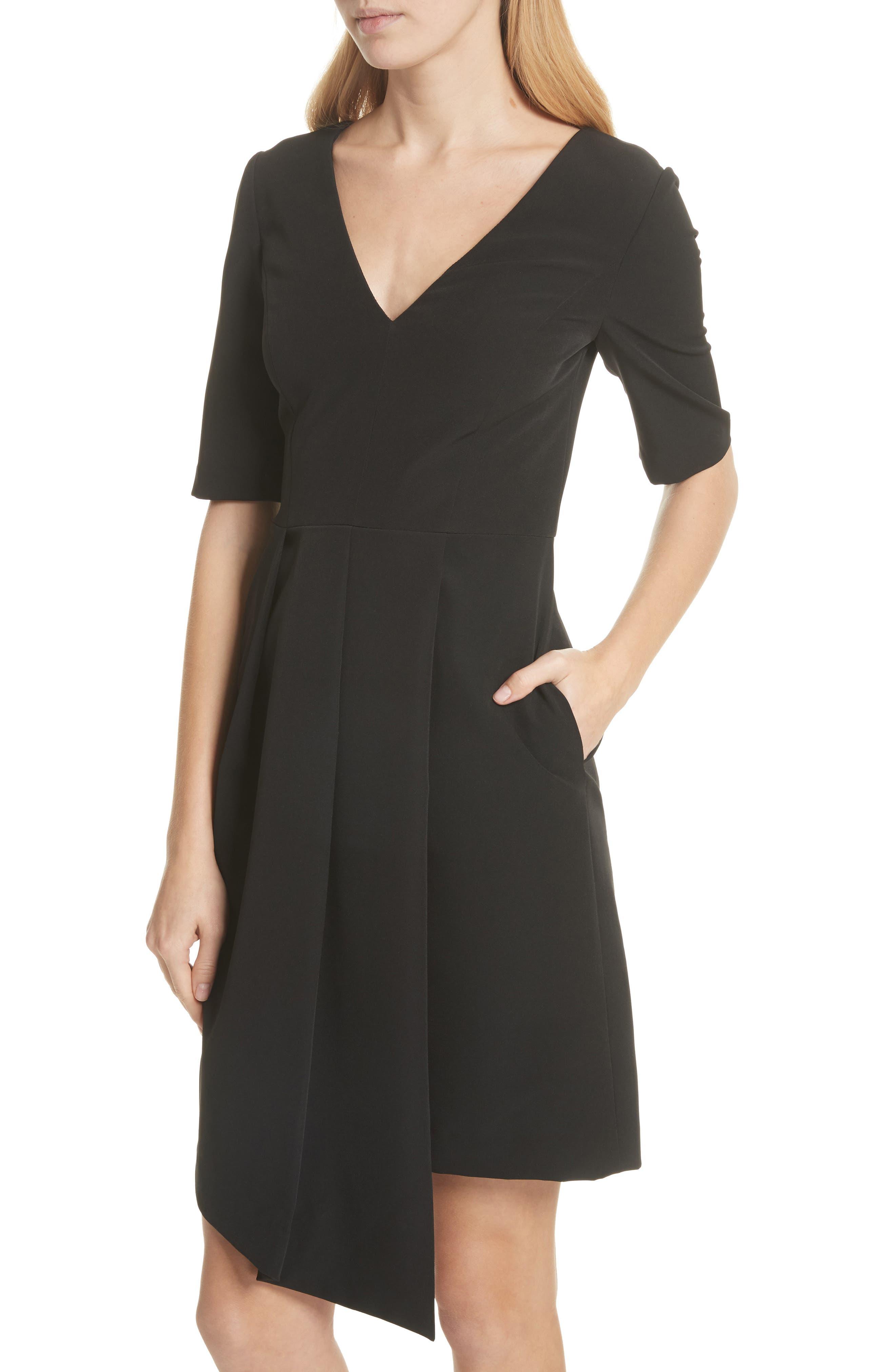 Asymmetrical Sheath Dress,                             Alternate thumbnail 4, color,                             Black
