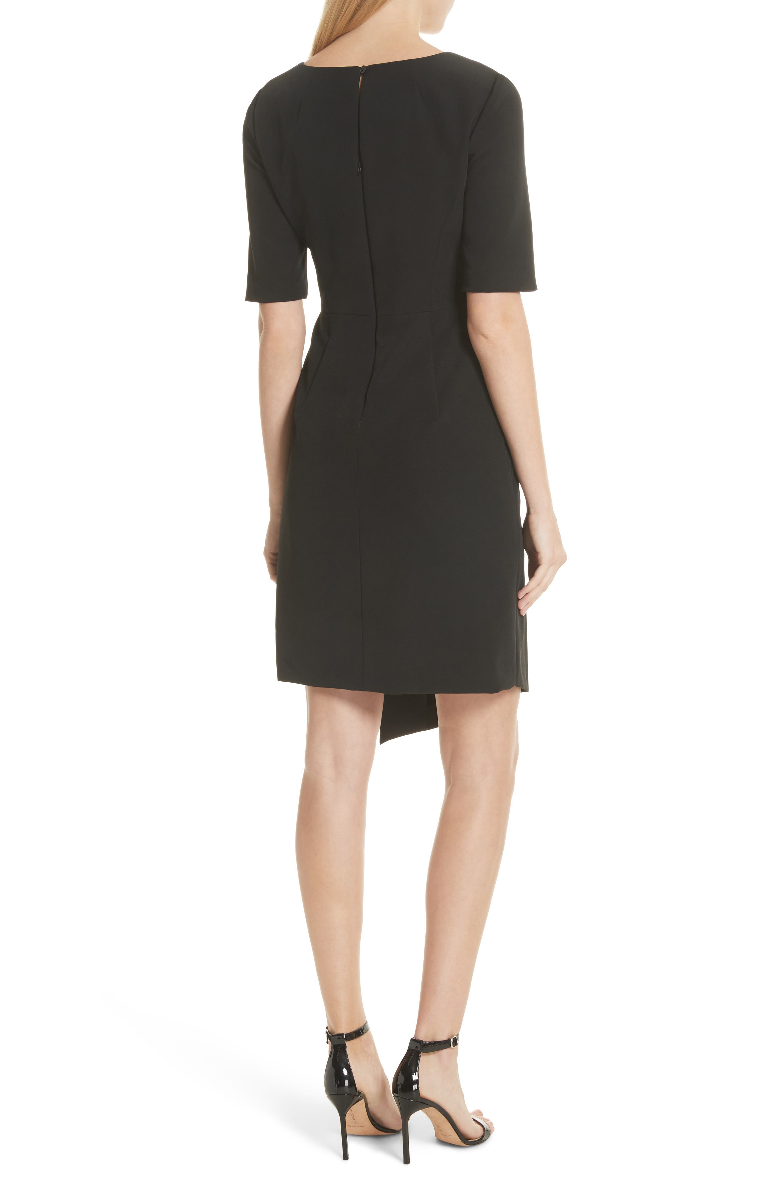 Asymmetrical Sheath Dress,                             Alternate thumbnail 2, color,                             Black
