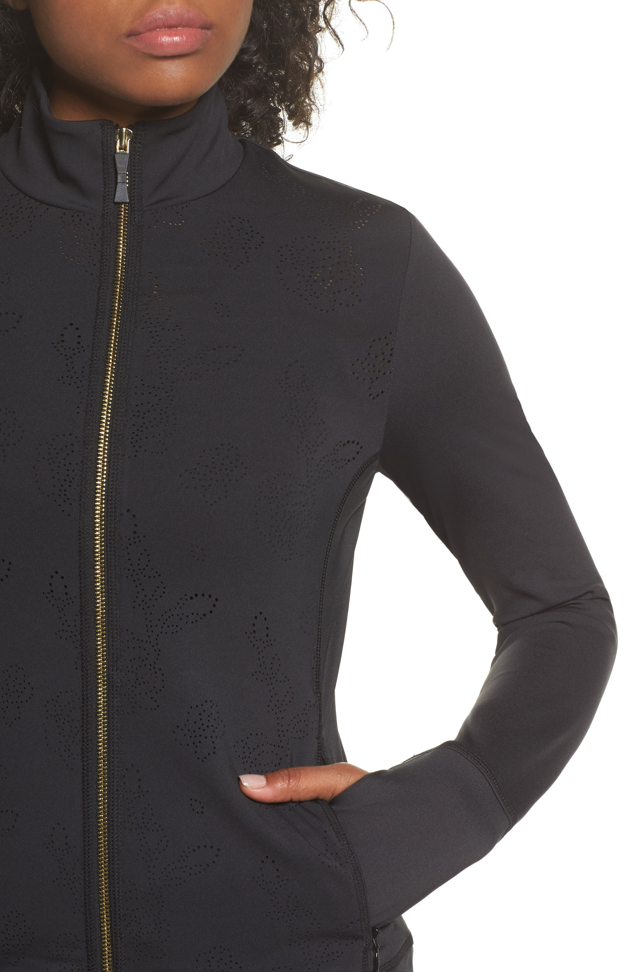 flora laser cut jacket,                             Alternate thumbnail 4, color,                             Black