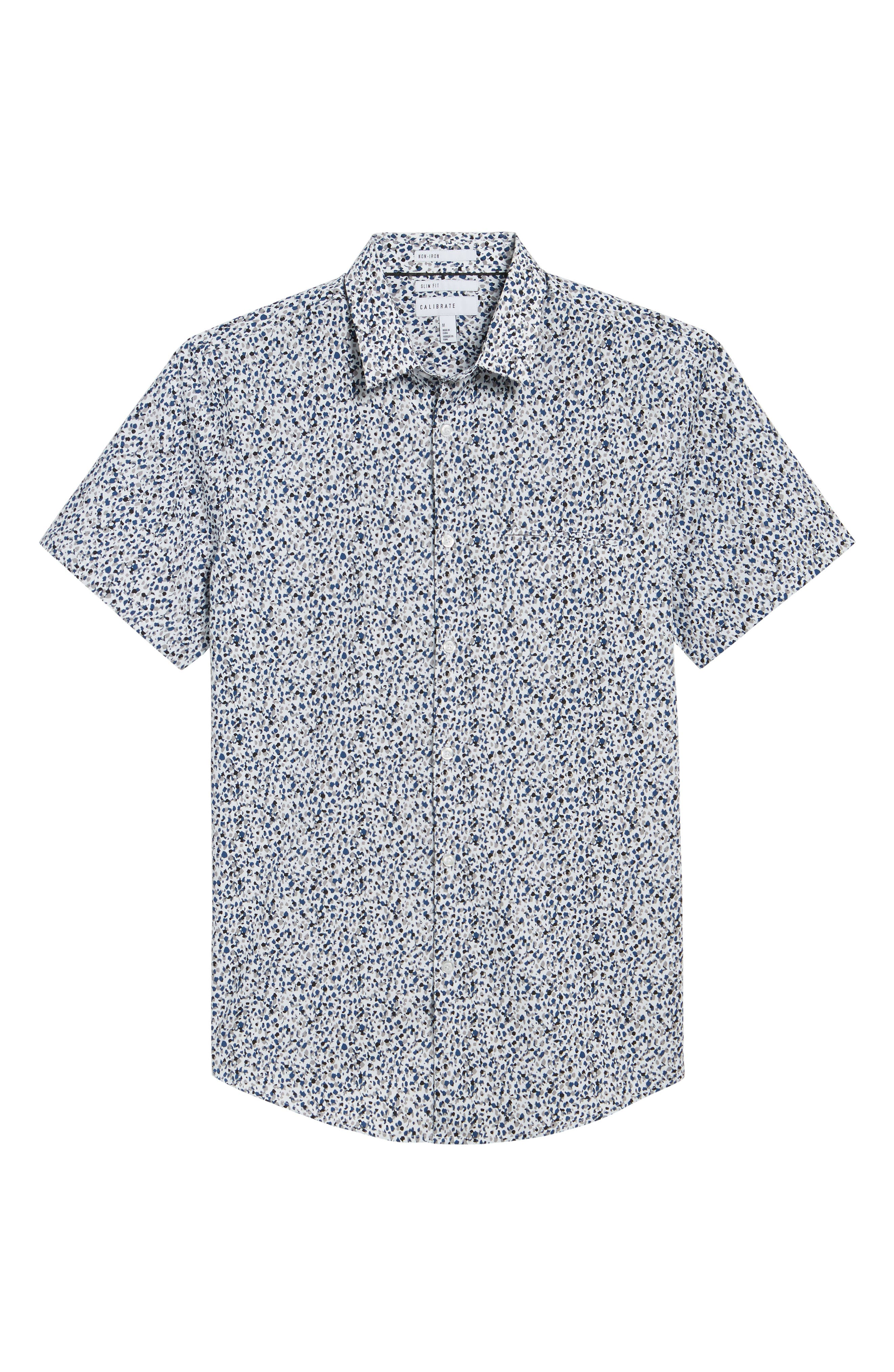 Print Welt Pocket Sport Shirt,                             Alternate thumbnail 6, color,                             White Blue Splatter