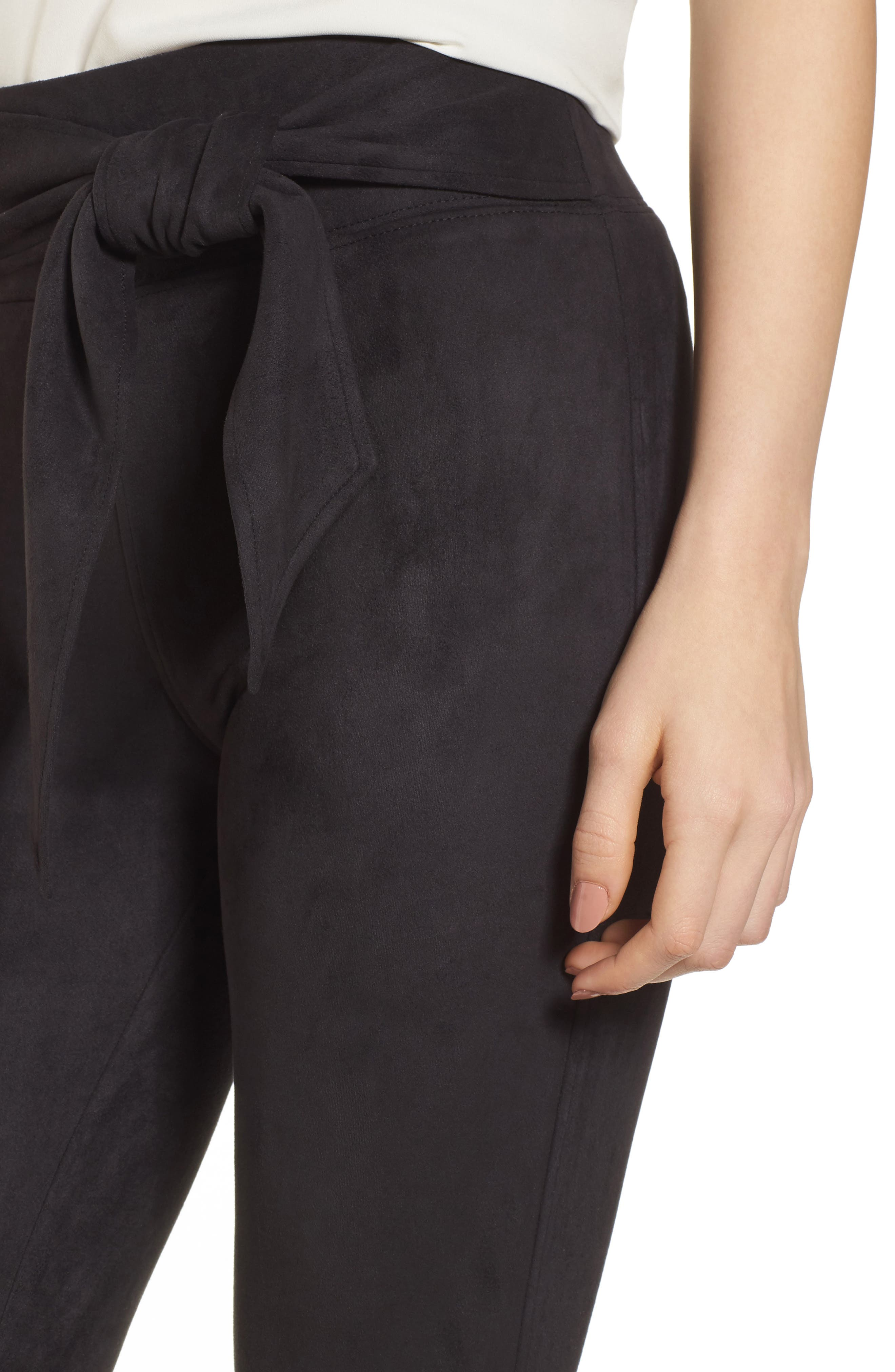 Waist Tie Skimmer Leggings,                             Alternate thumbnail 4, color,                             Black