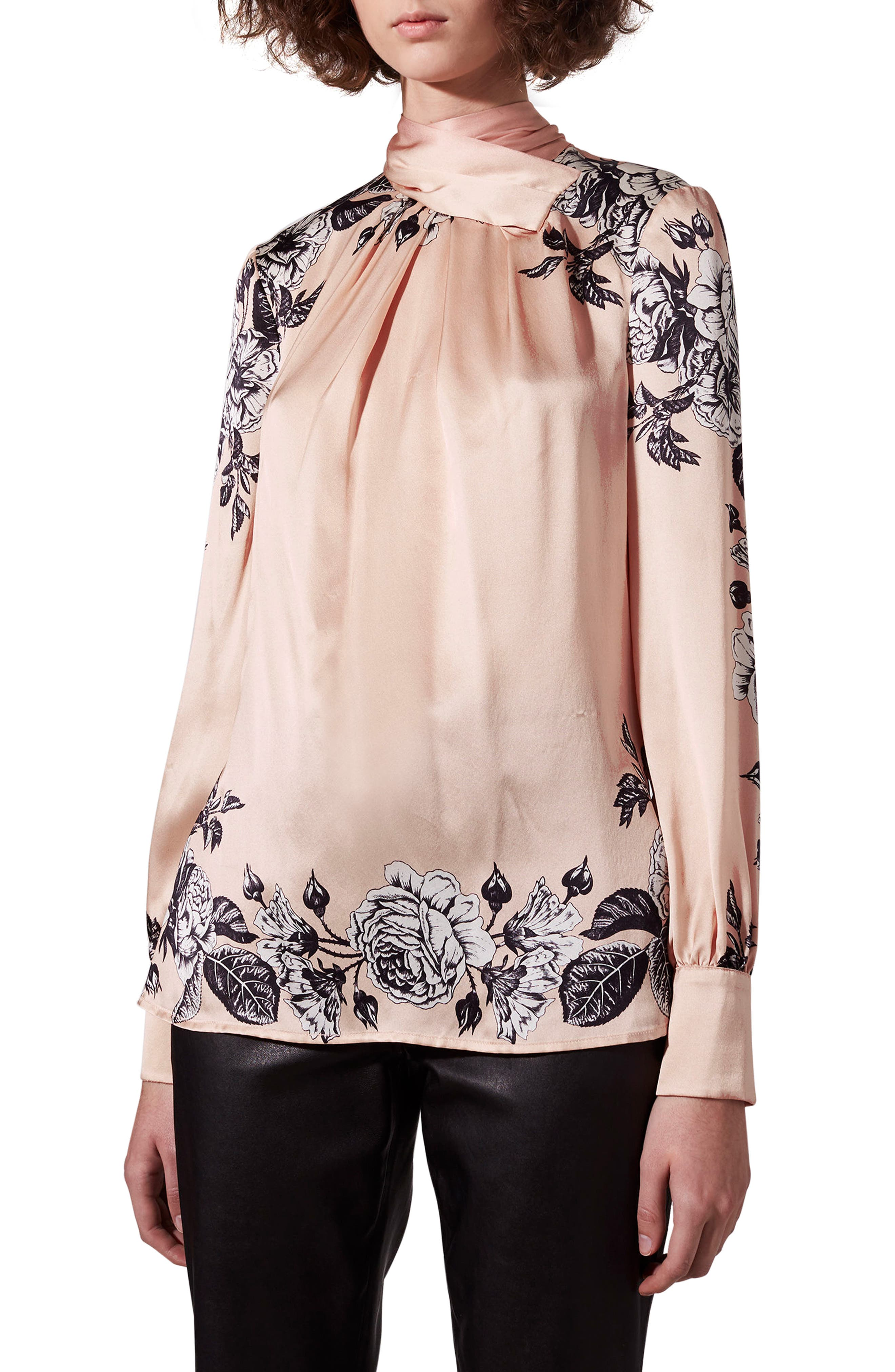 Reverse Bow Neck Blouse,                         Main,                         color, Rose Multi