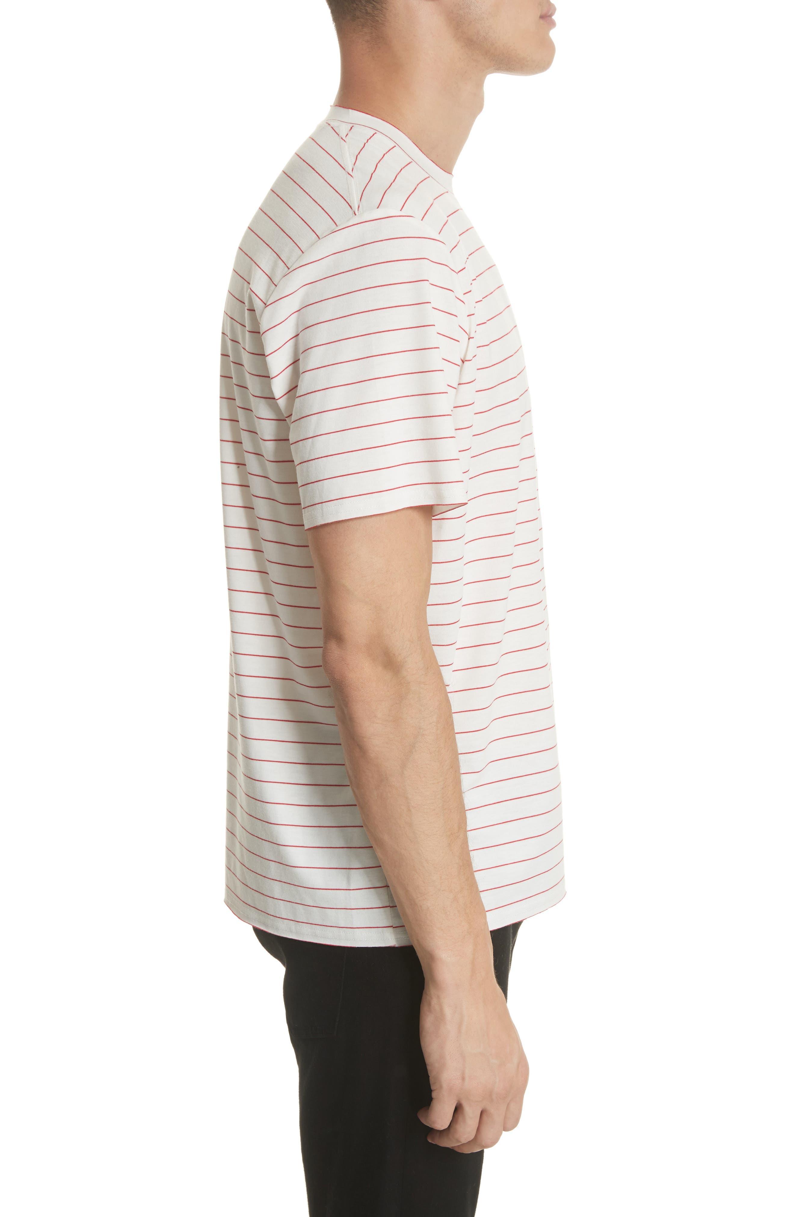Stripe Crewneck T-Shirt,                             Alternate thumbnail 3, color,                             White/ Red