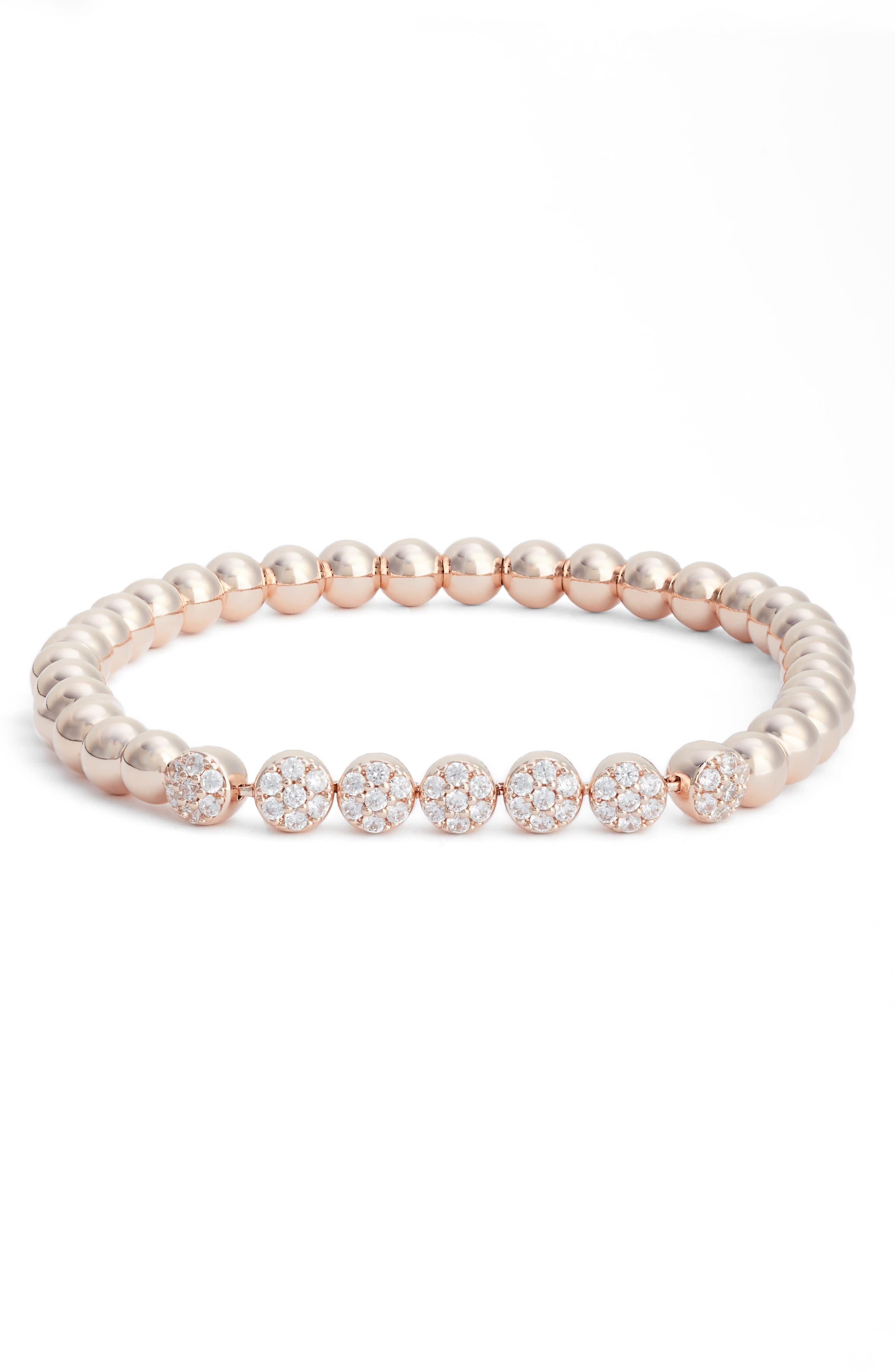 Cubic Zirconia Bracelet,                         Main,                         color, Rose Gold/ Clear