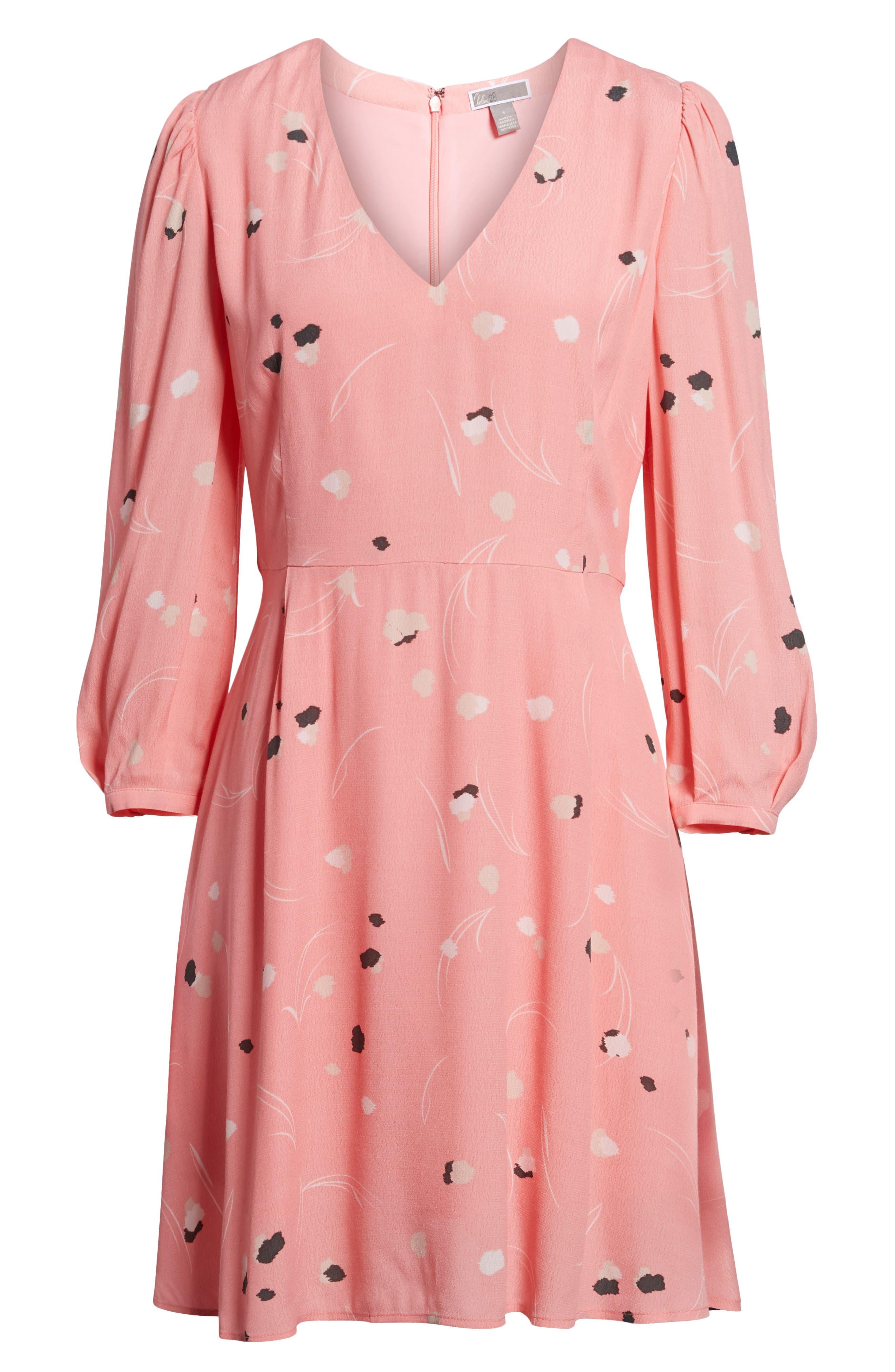 V-Neck Puff Sleeve Dress,                             Alternate thumbnail 6, color,                             Pink Flamingo Mini Pops