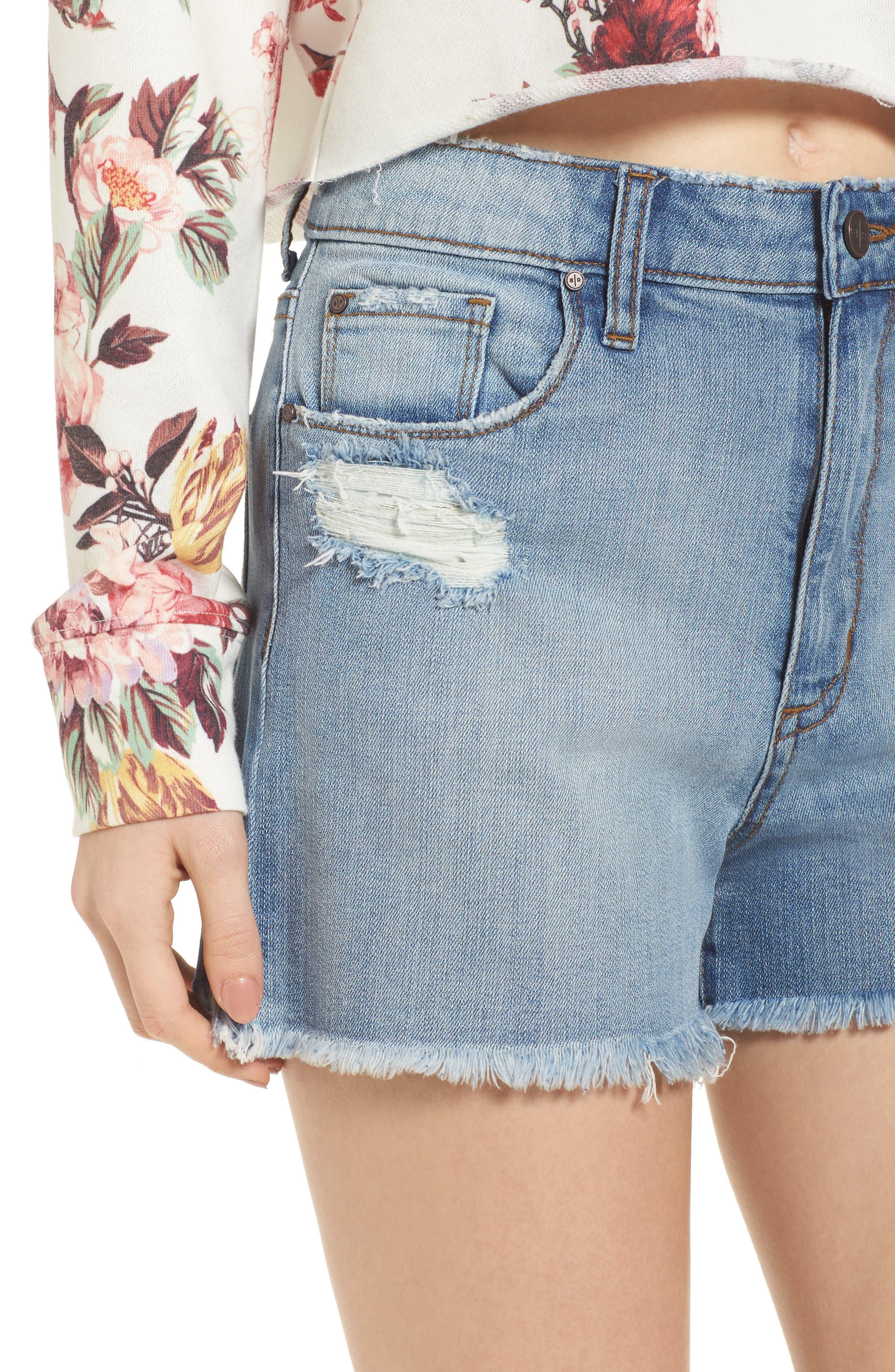 High Waist Distressed Denim Shorts,                             Alternate thumbnail 4, color,                             Medium Wash