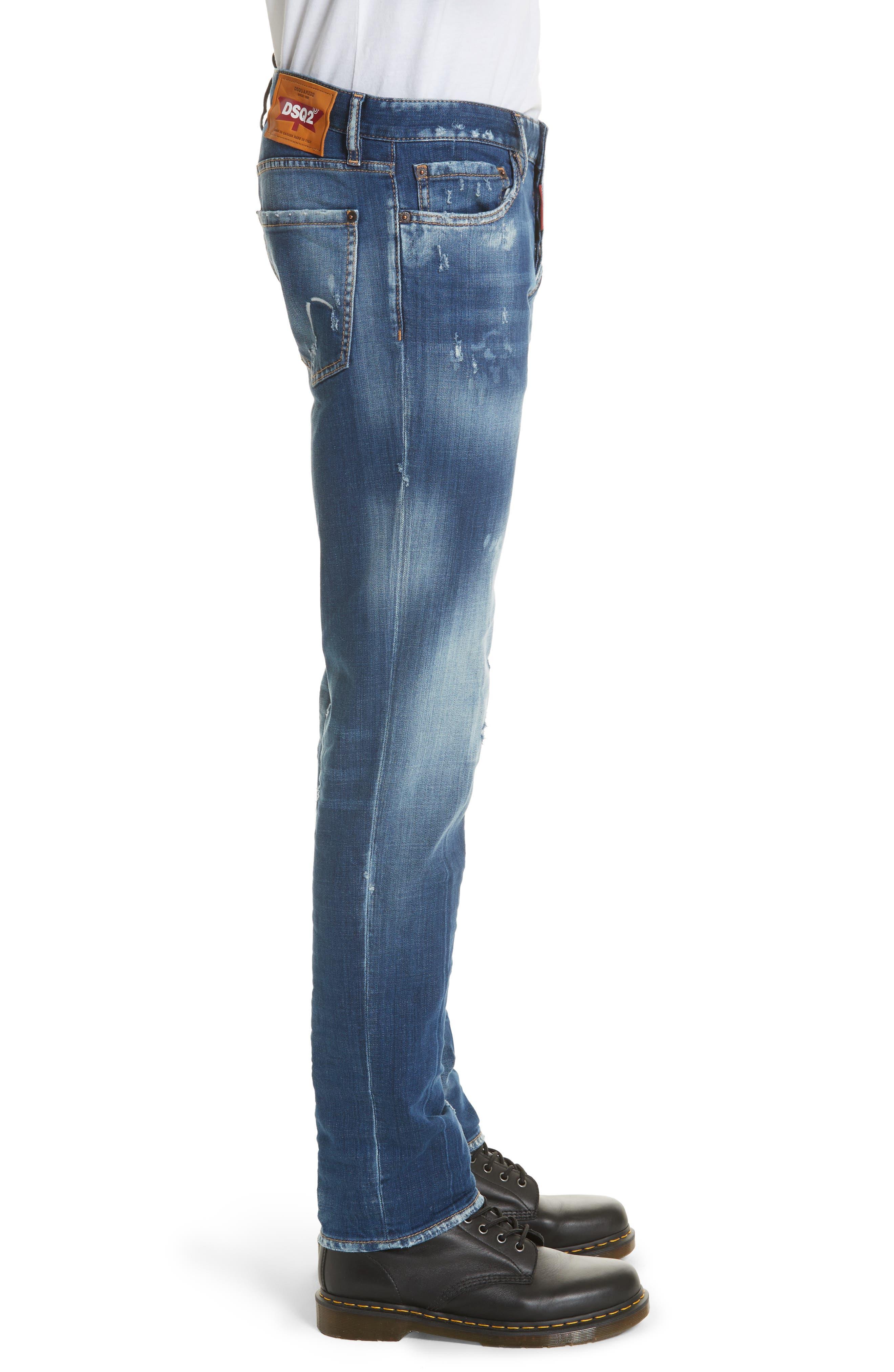 Slim Fit Medium Wash Jeans,                             Alternate thumbnail 3, color,                             Navy/Blue
