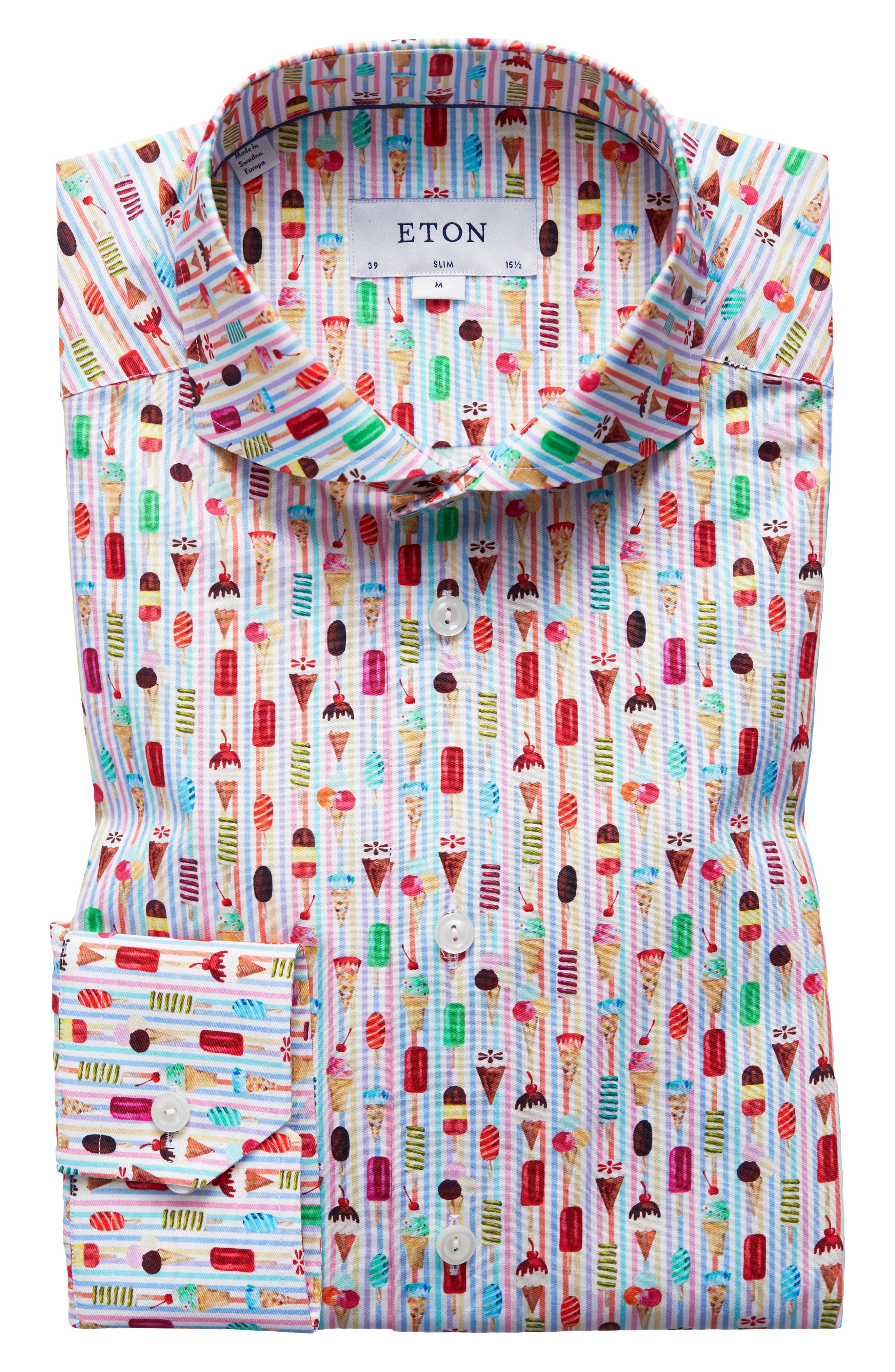Slim Fit Ice Cream Print Dress Shirt,                             Main thumbnail 1, color,                             Pink Multi