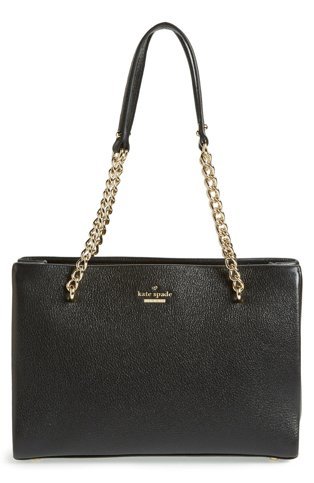 'emerson place - small phoebe' leather shoulder bag,                         Main,                         color, Black