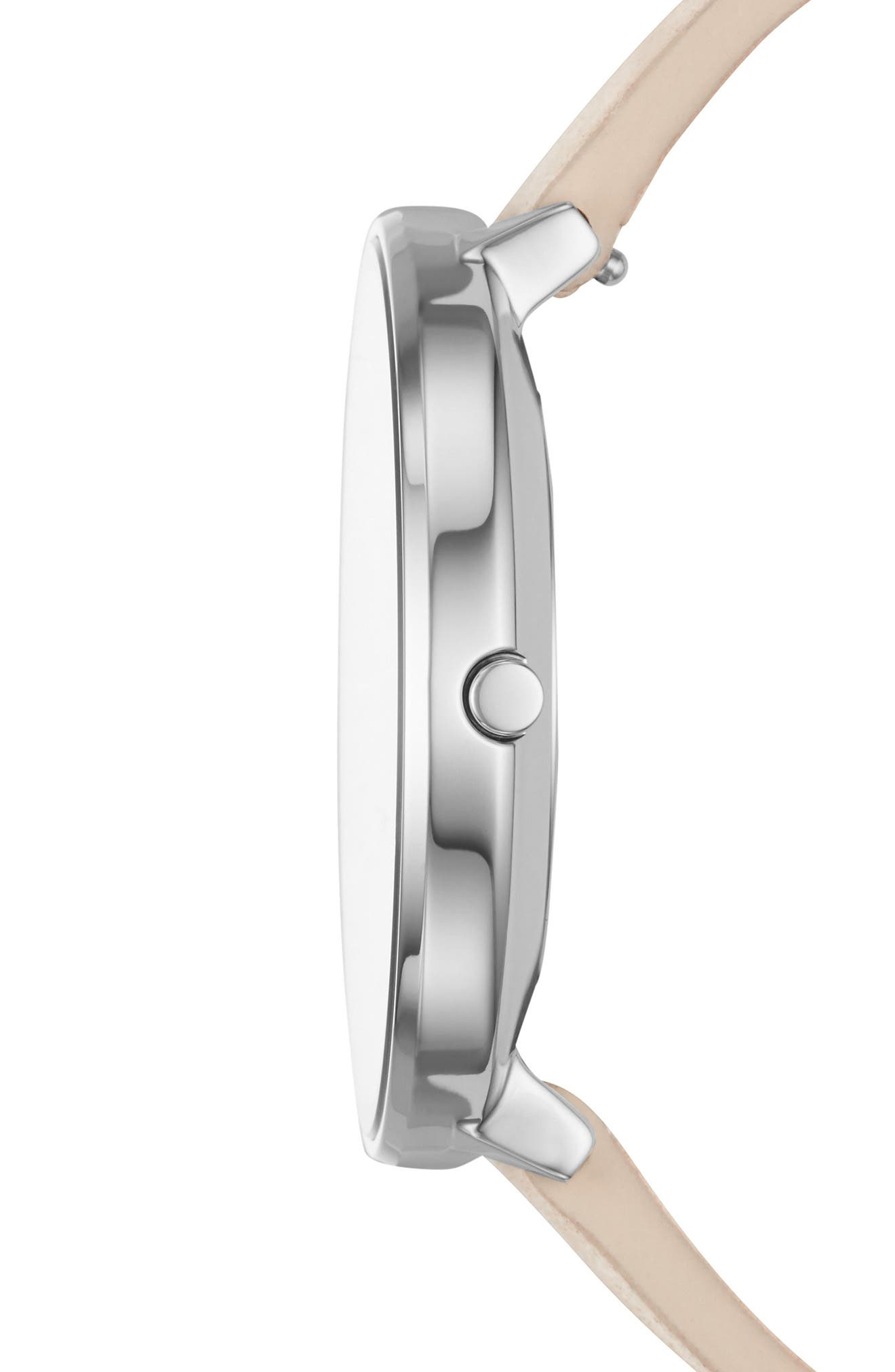 Karolina Leather Strap Watch, 38mm,                             Alternate thumbnail 2, color,                             Nude/ Grey/ Silver