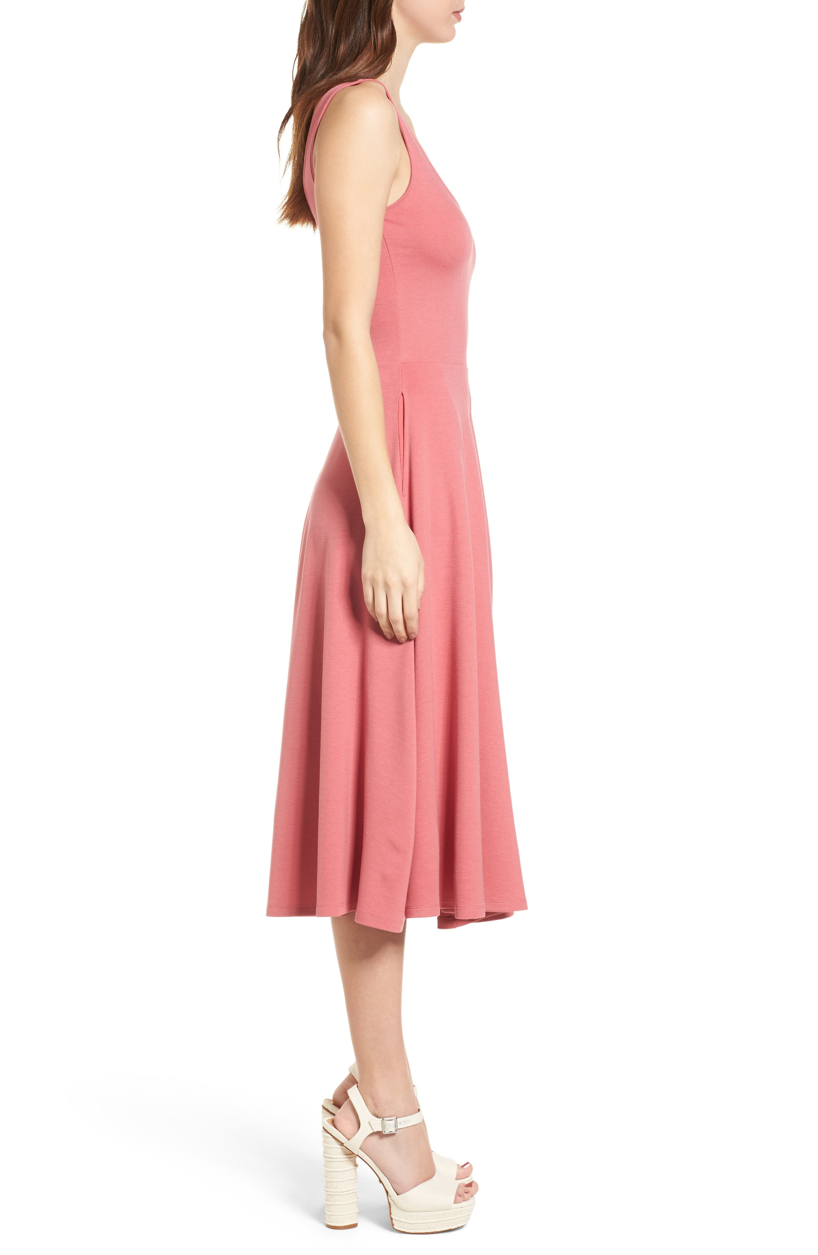 Stretch Knit Midi Dress,                             Alternate thumbnail 3, color,                             Red Baroque