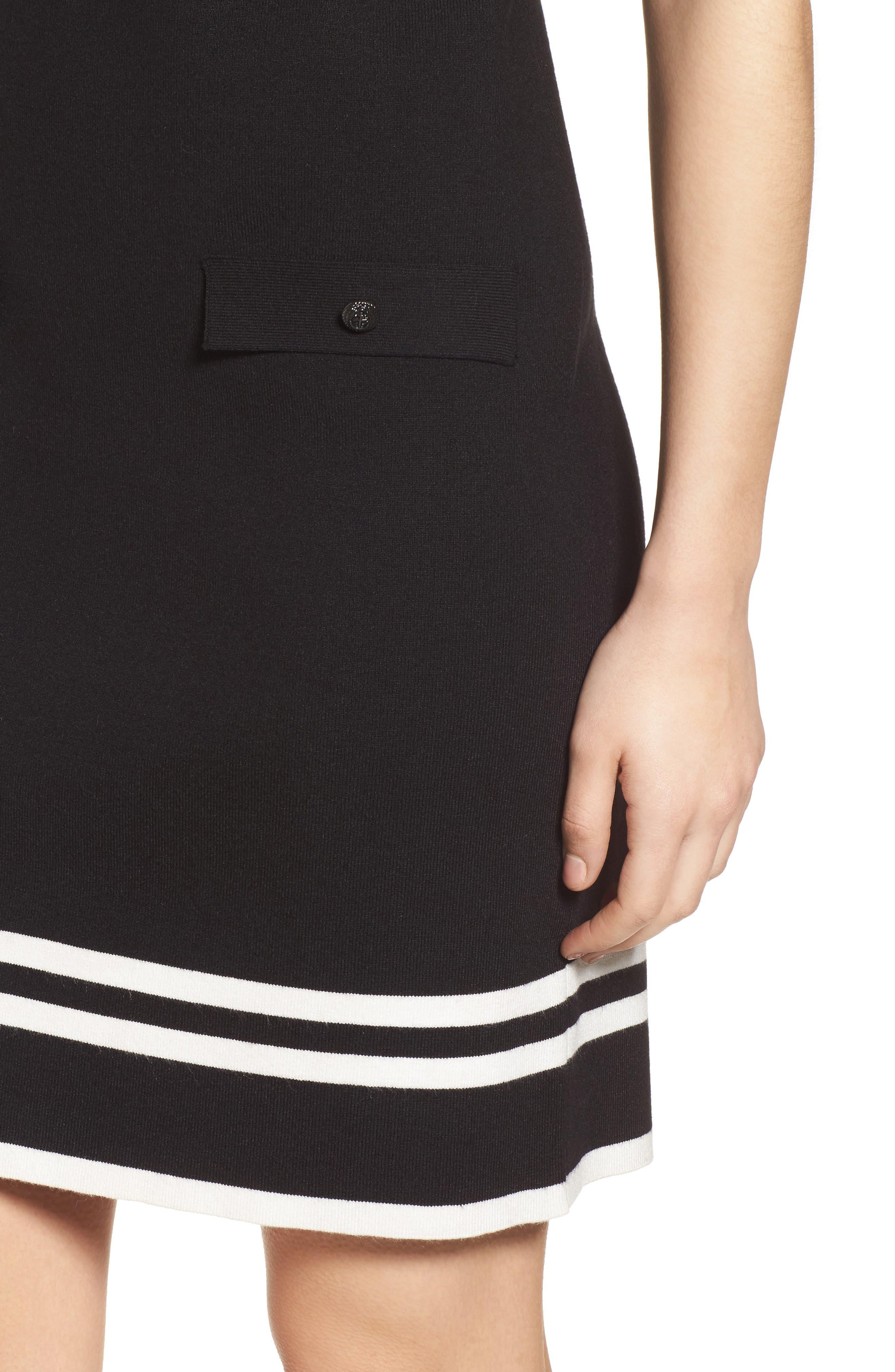 Ann Klein New York Stripe Border Knit Sheath Dress,                             Alternate thumbnail 4, color,                             Black/ White