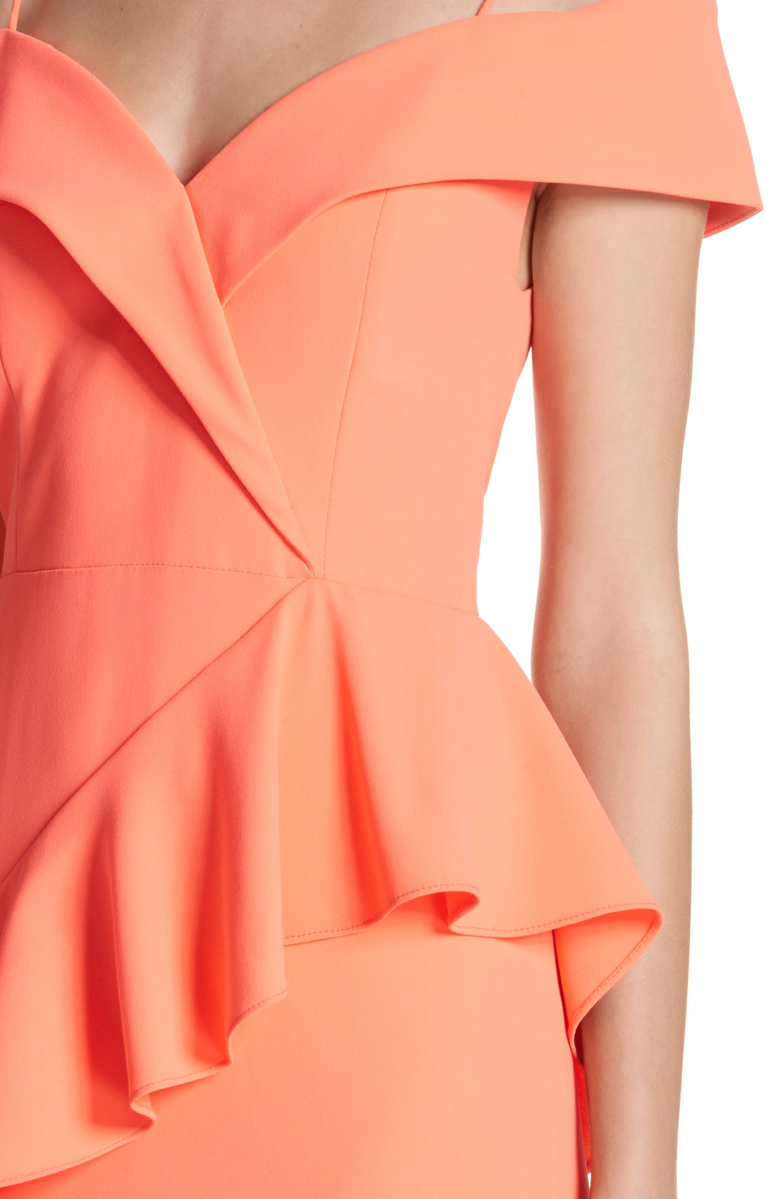Vita Cold Shoulder Dress,                             Alternate thumbnail 4, color,                             Neon Coral