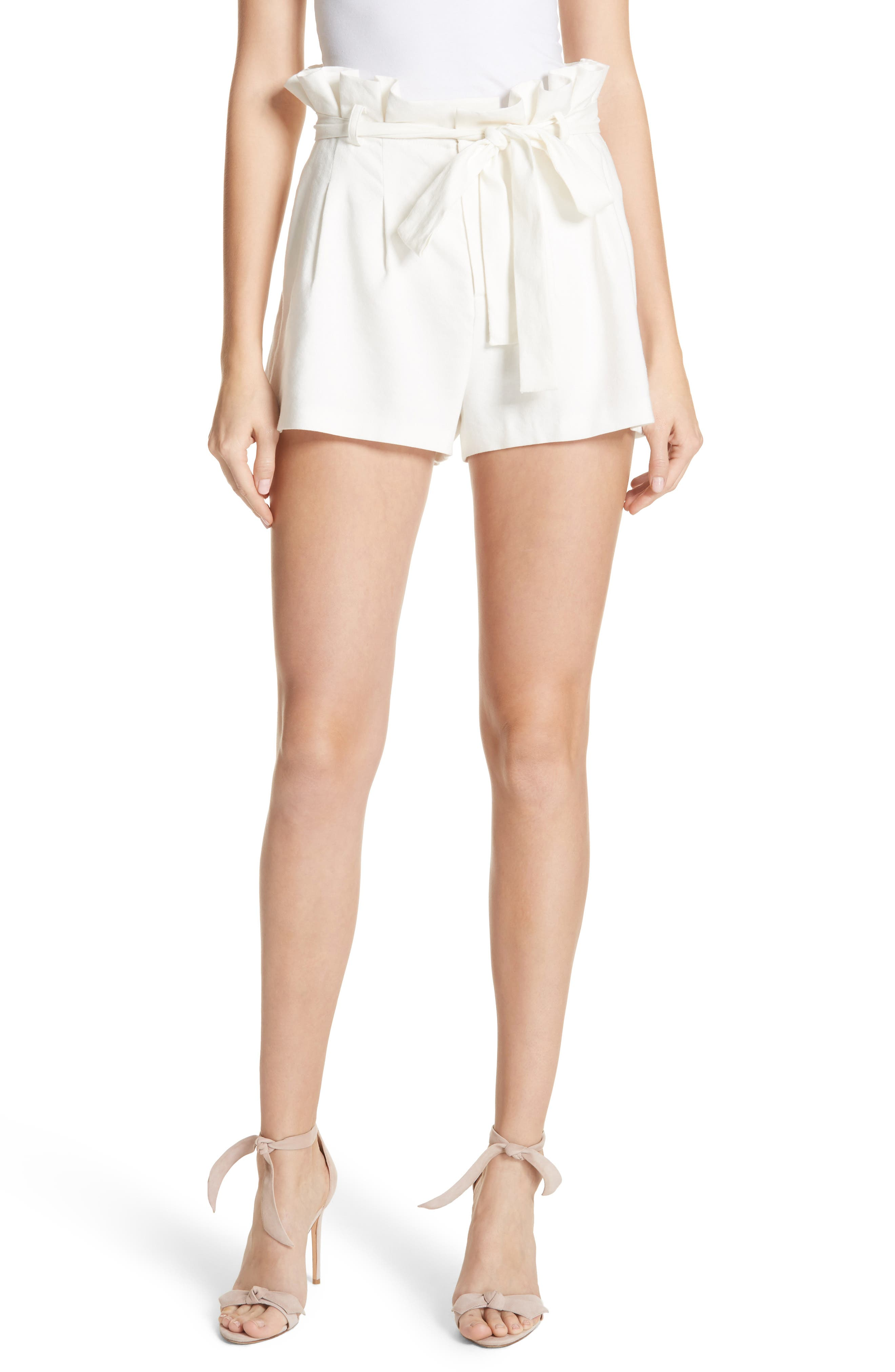 Laurine Paperbag Shorts,                             Main thumbnail 1, color,                             Off White