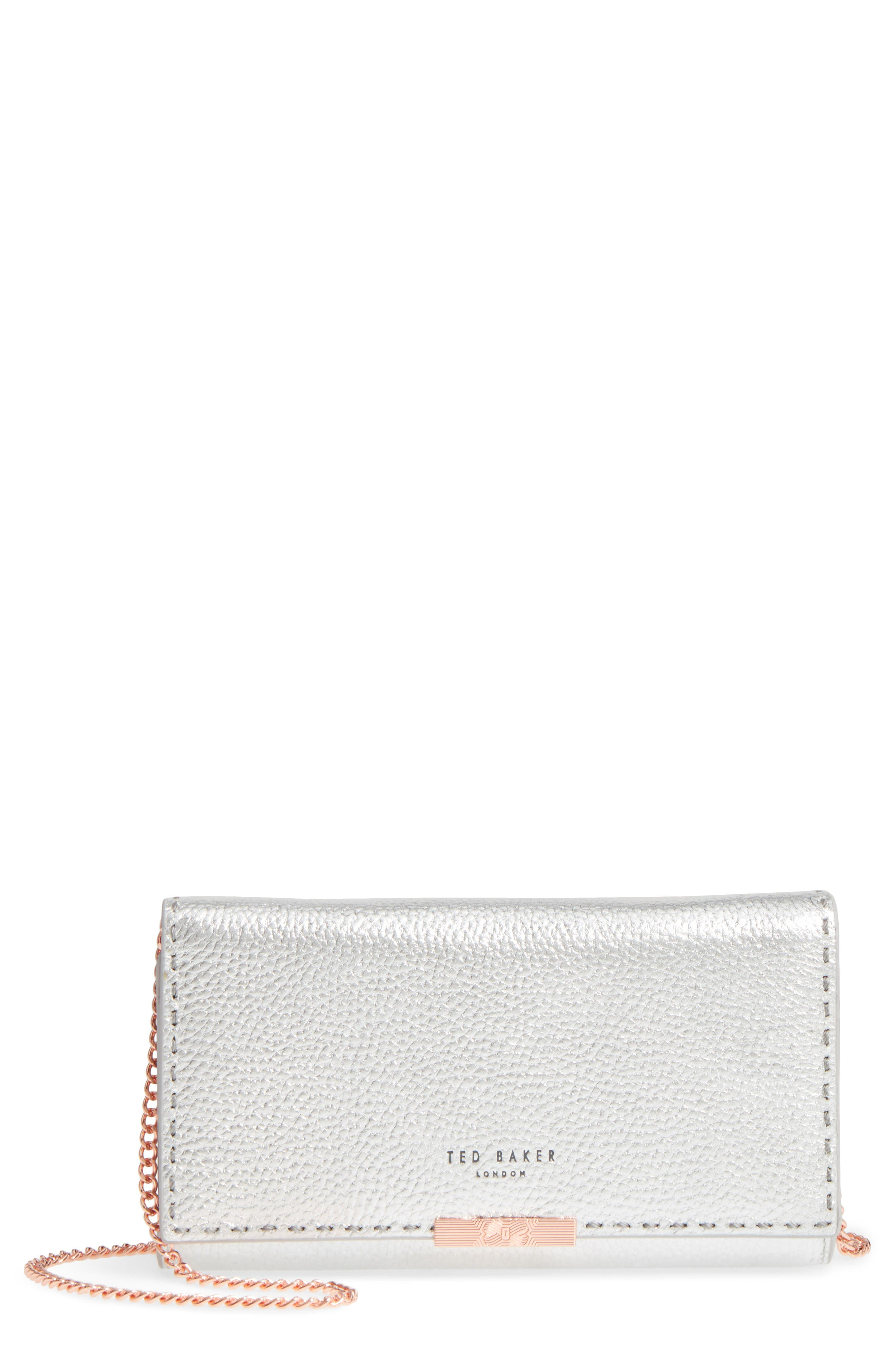 Janet Metallic Leather Crossbody Matinée Wallet on a Chain,                         Main,                         color, Silver