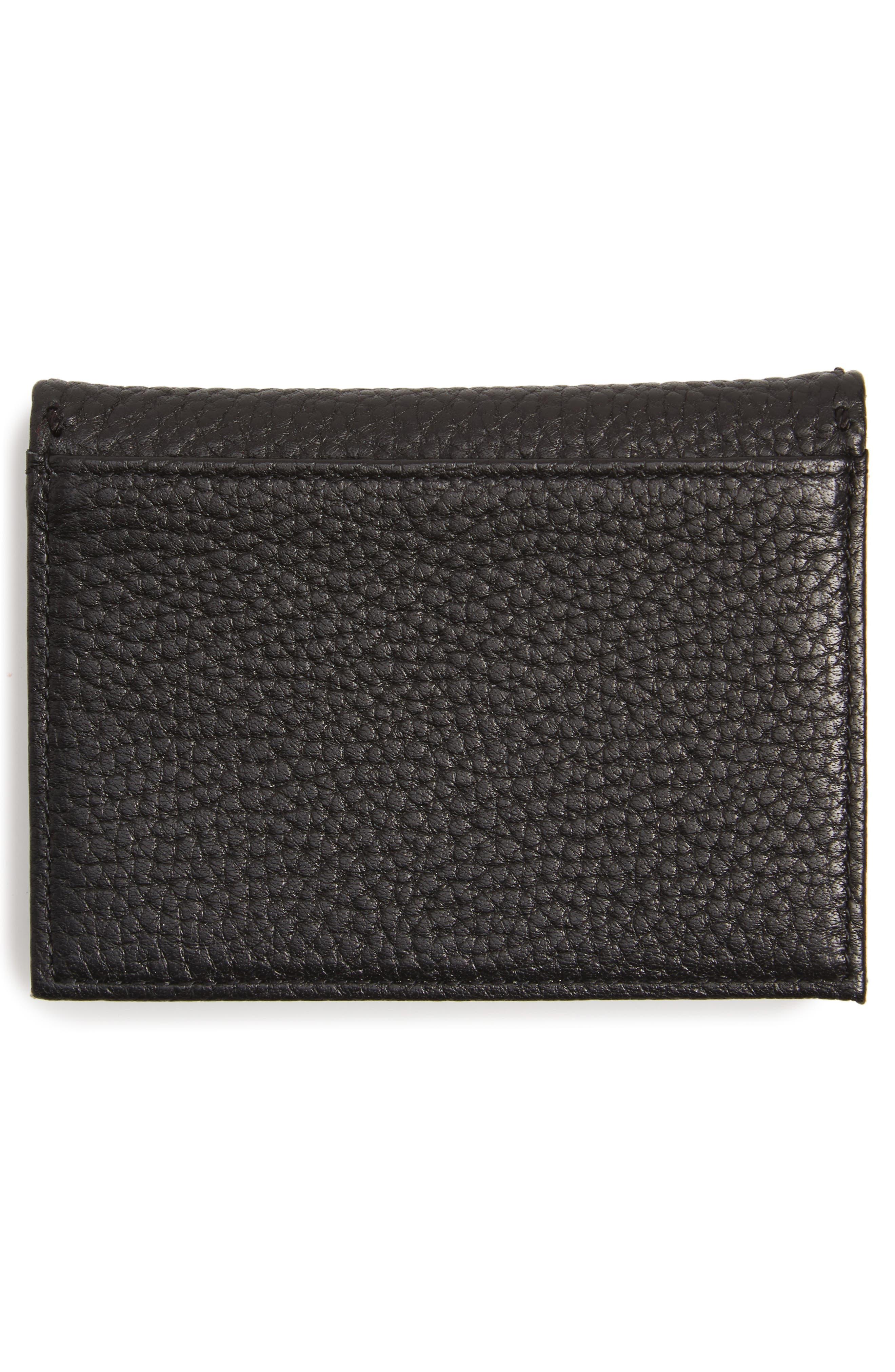 Hermina Leather Card Case,                             Alternate thumbnail 2, color,                             Black