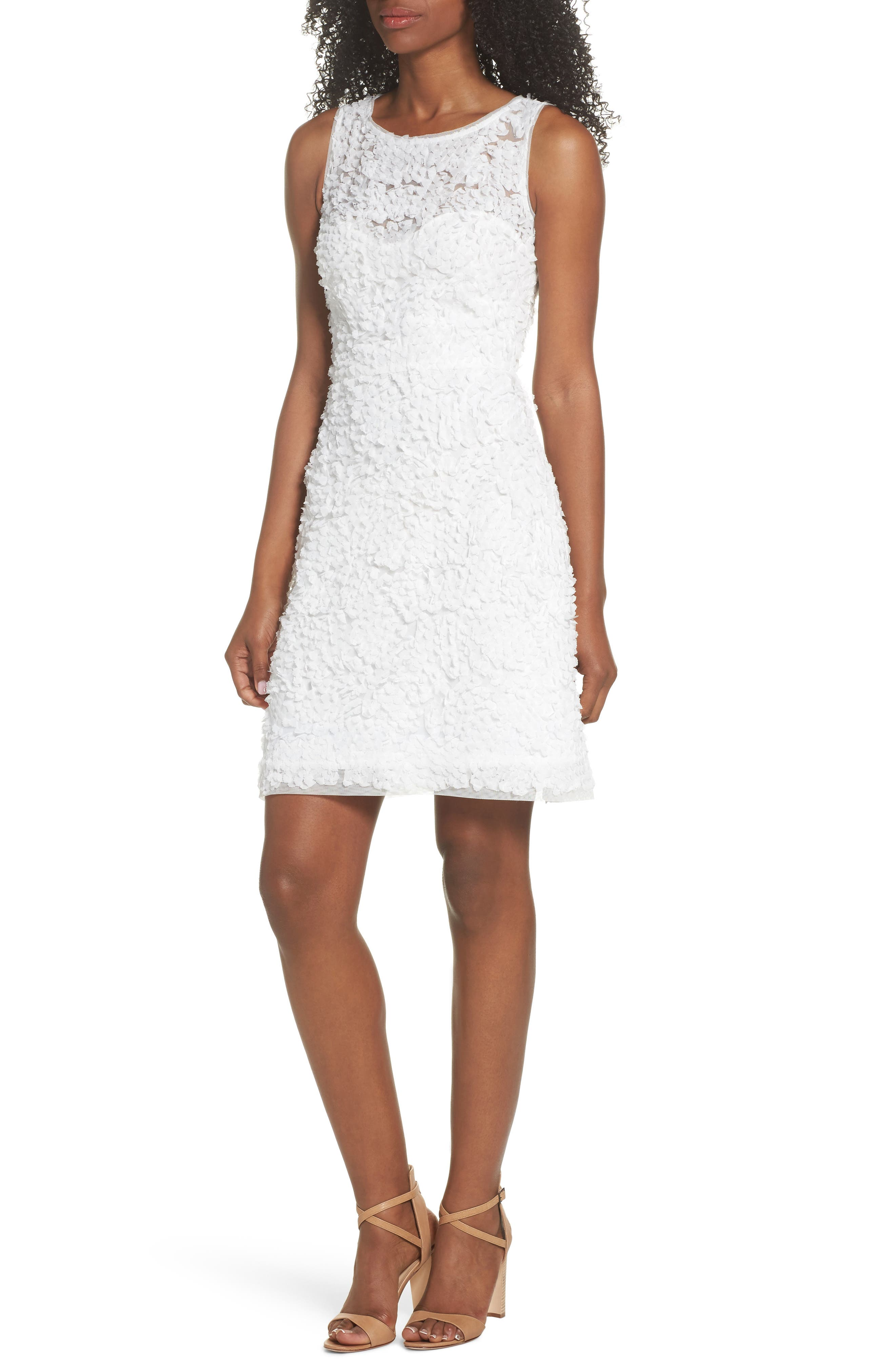 Sleeveless Petal Dress,                         Main,                         color, White