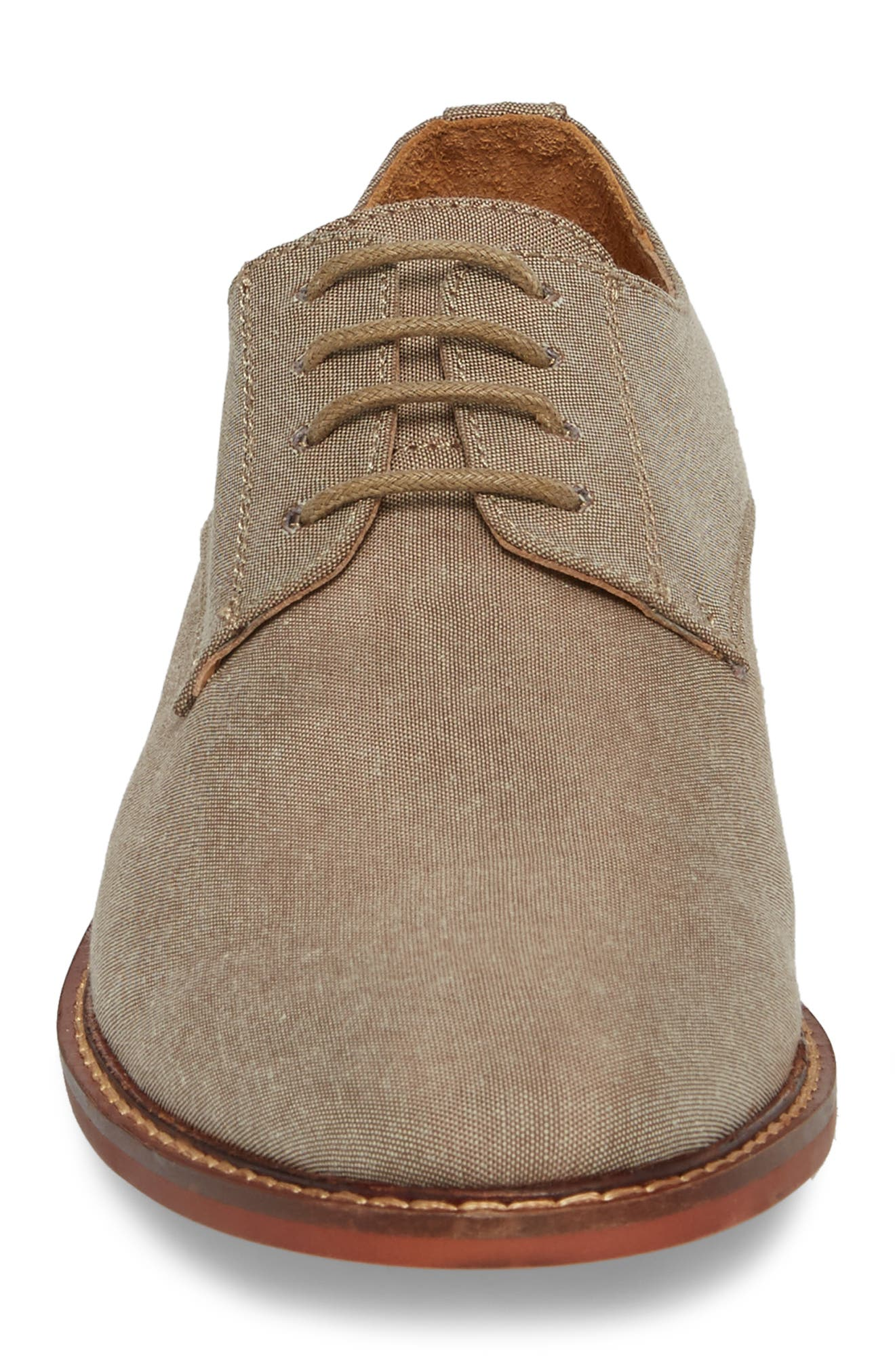 Pinacle Plain Toe Derby,                             Alternate thumbnail 4, color,                             Khaki Leather