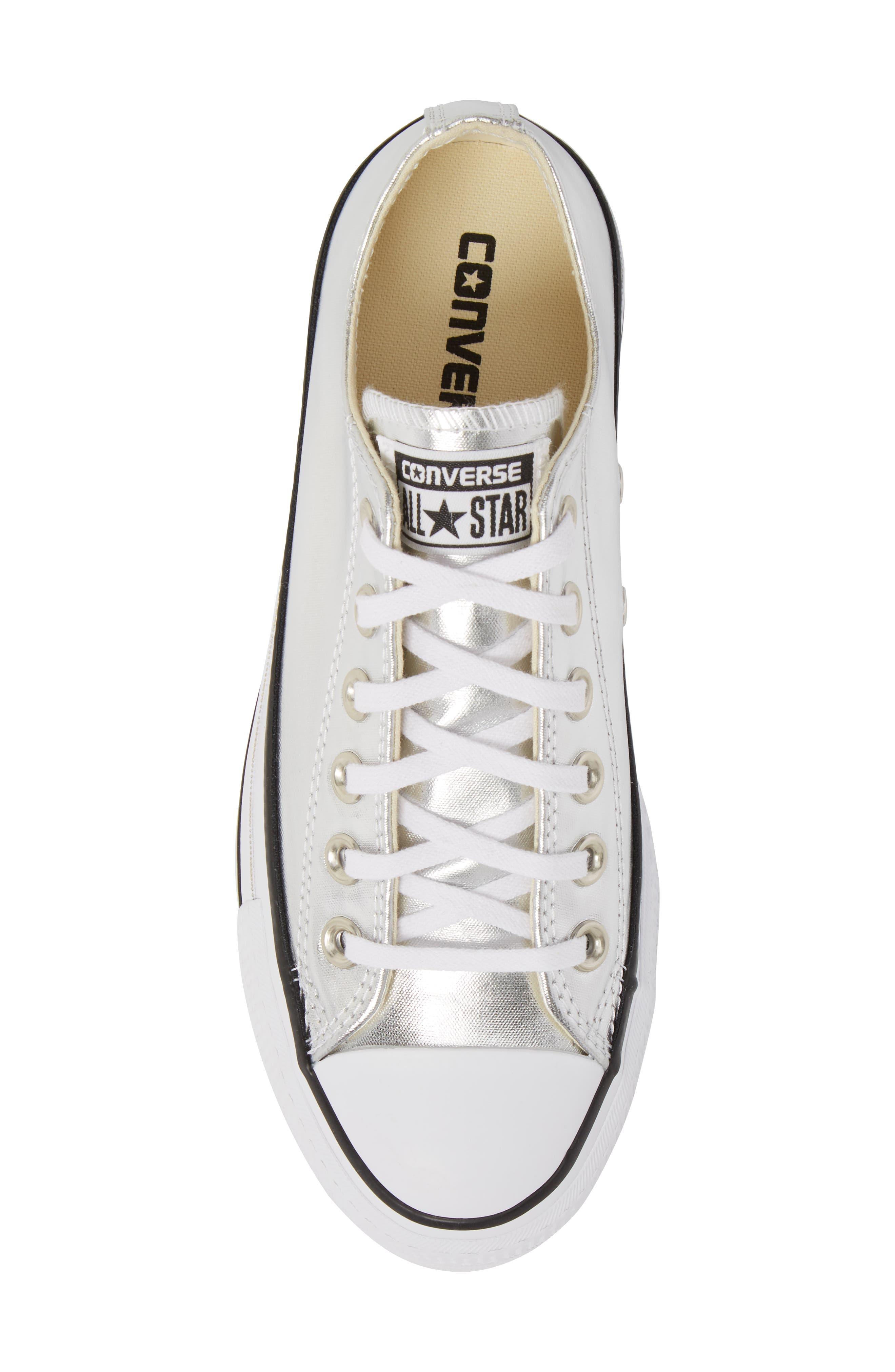 Chuck Taylor<sup>®</sup> All Star Platform Sneaker,                             Alternate thumbnail 5, color,                             Silver/ Black