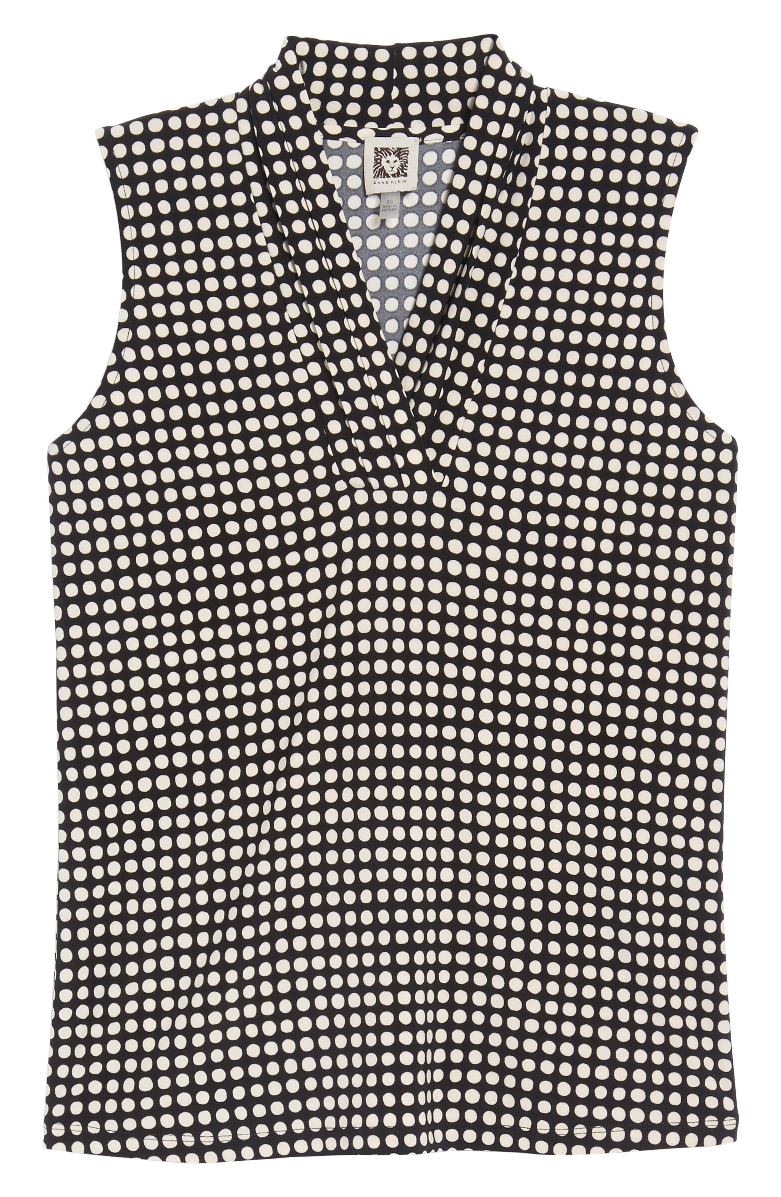 Pleat Neck Dot Matte Jersey Top,                             Alternate thumbnail 7, color,                             Black/ Parchment