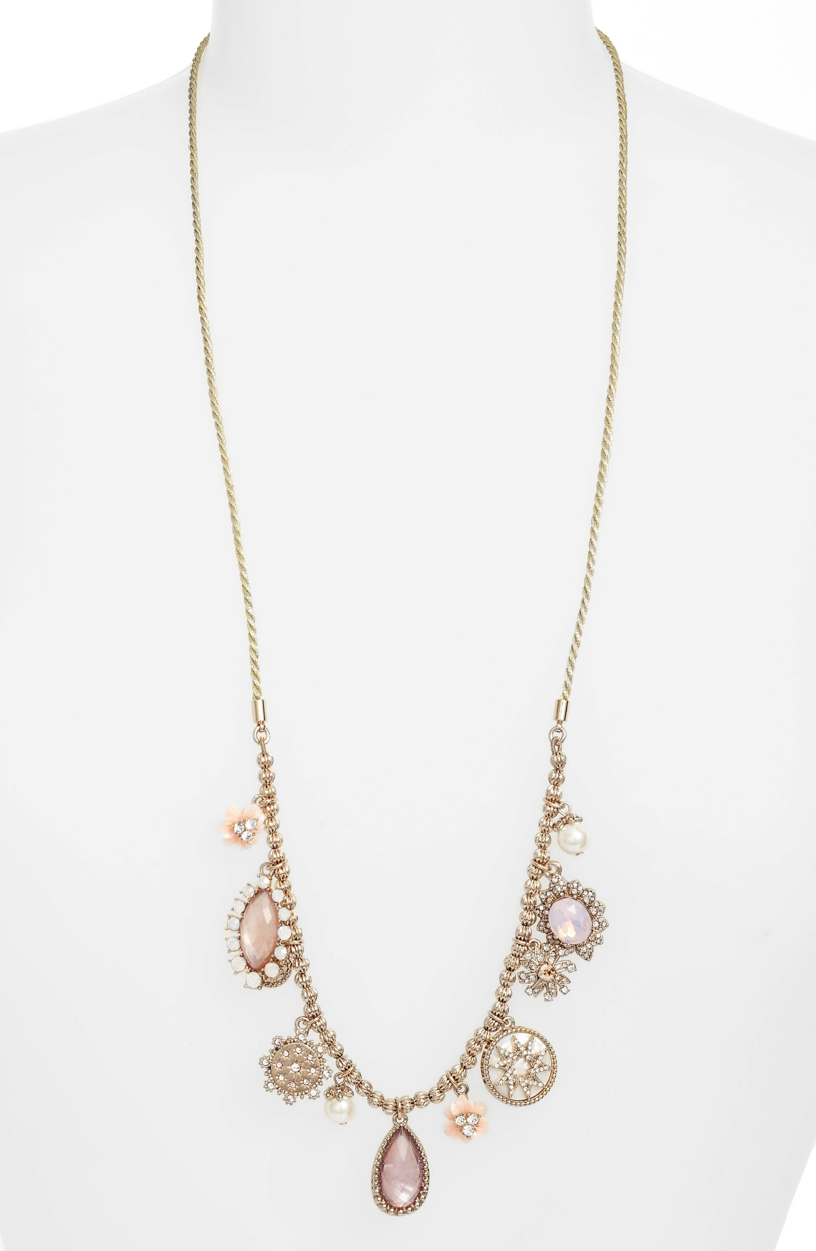 Marchesa Long Adjustable Crystal Necklace with Tassels