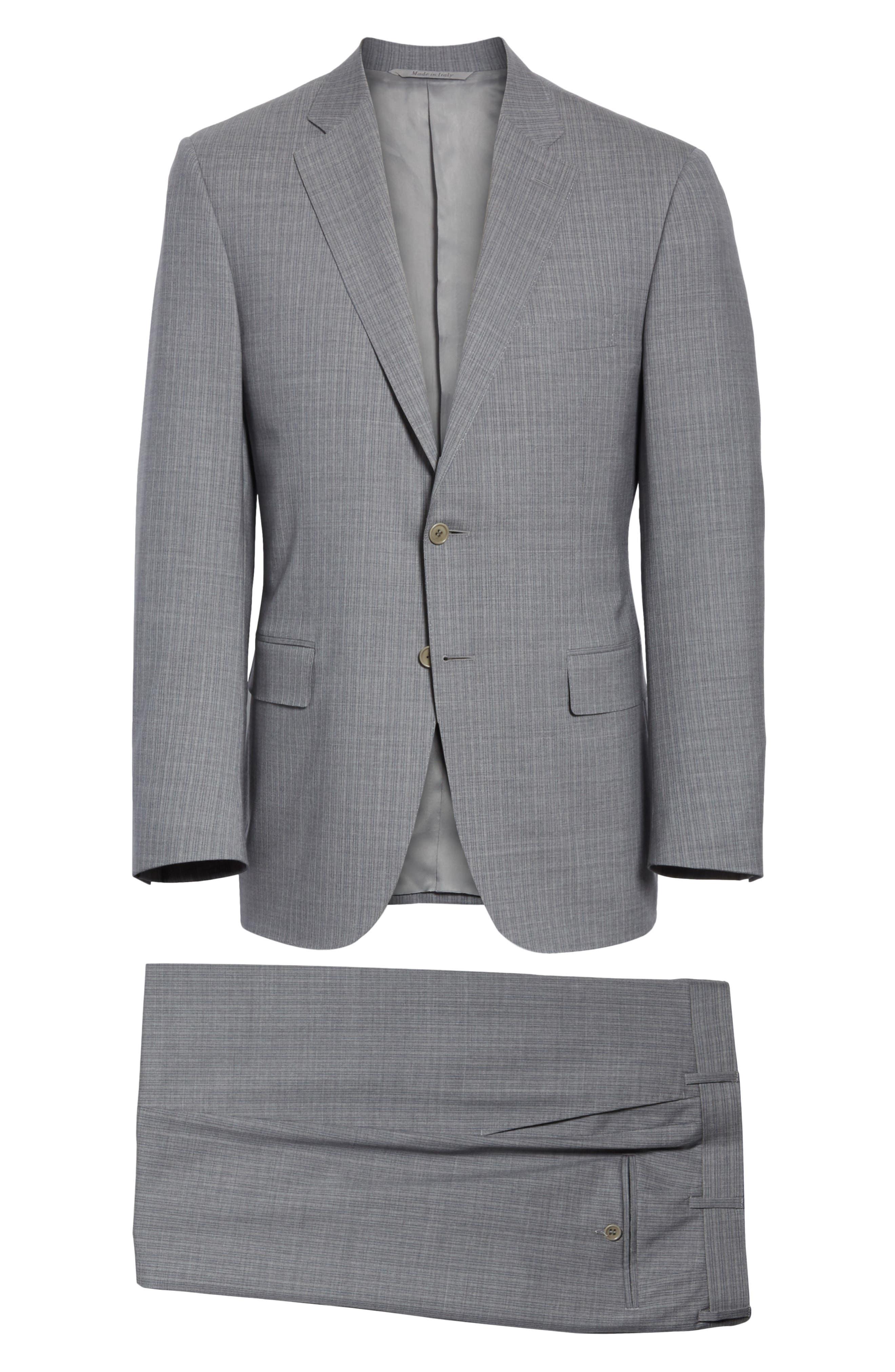 Classic Fit Stripe Wool Suit,                             Alternate thumbnail 10, color,                             Grey