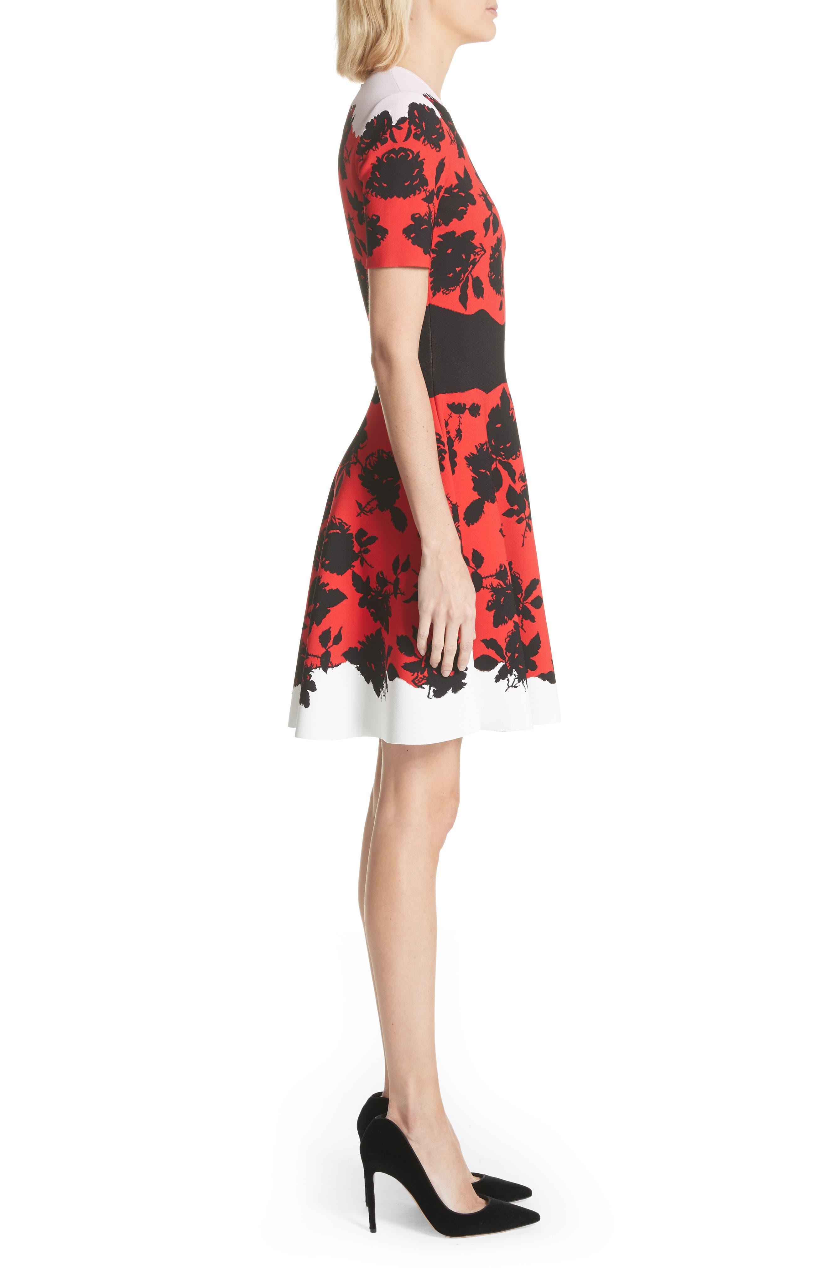 Rose Jacquard Knit Flounce Dress,                             Alternate thumbnail 3, color,                             Red/ Black/ Ivory/ Pink