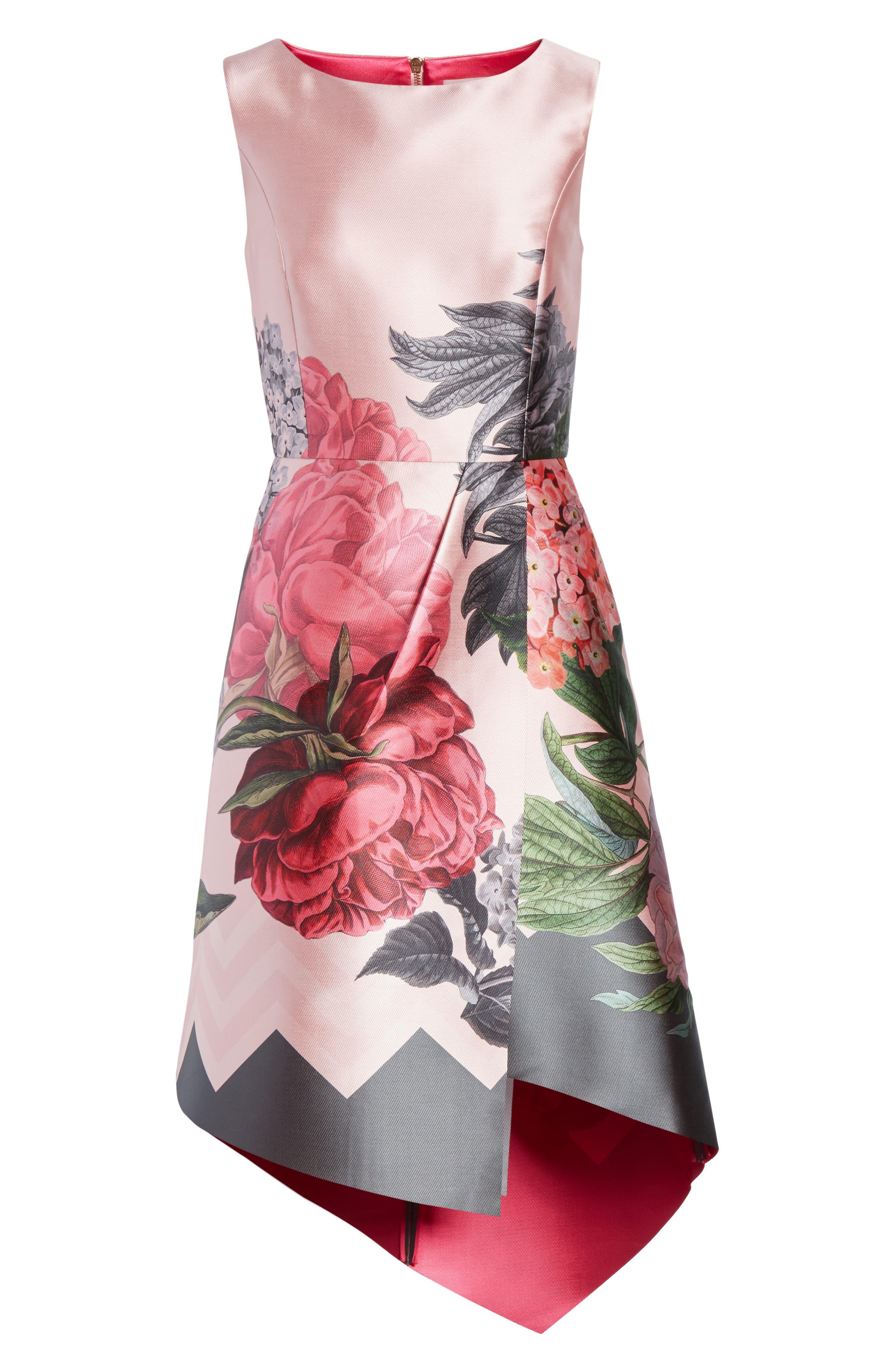 Palace Garden Faux Wrap Dress,                             Alternate thumbnail 6, color,                             Grey