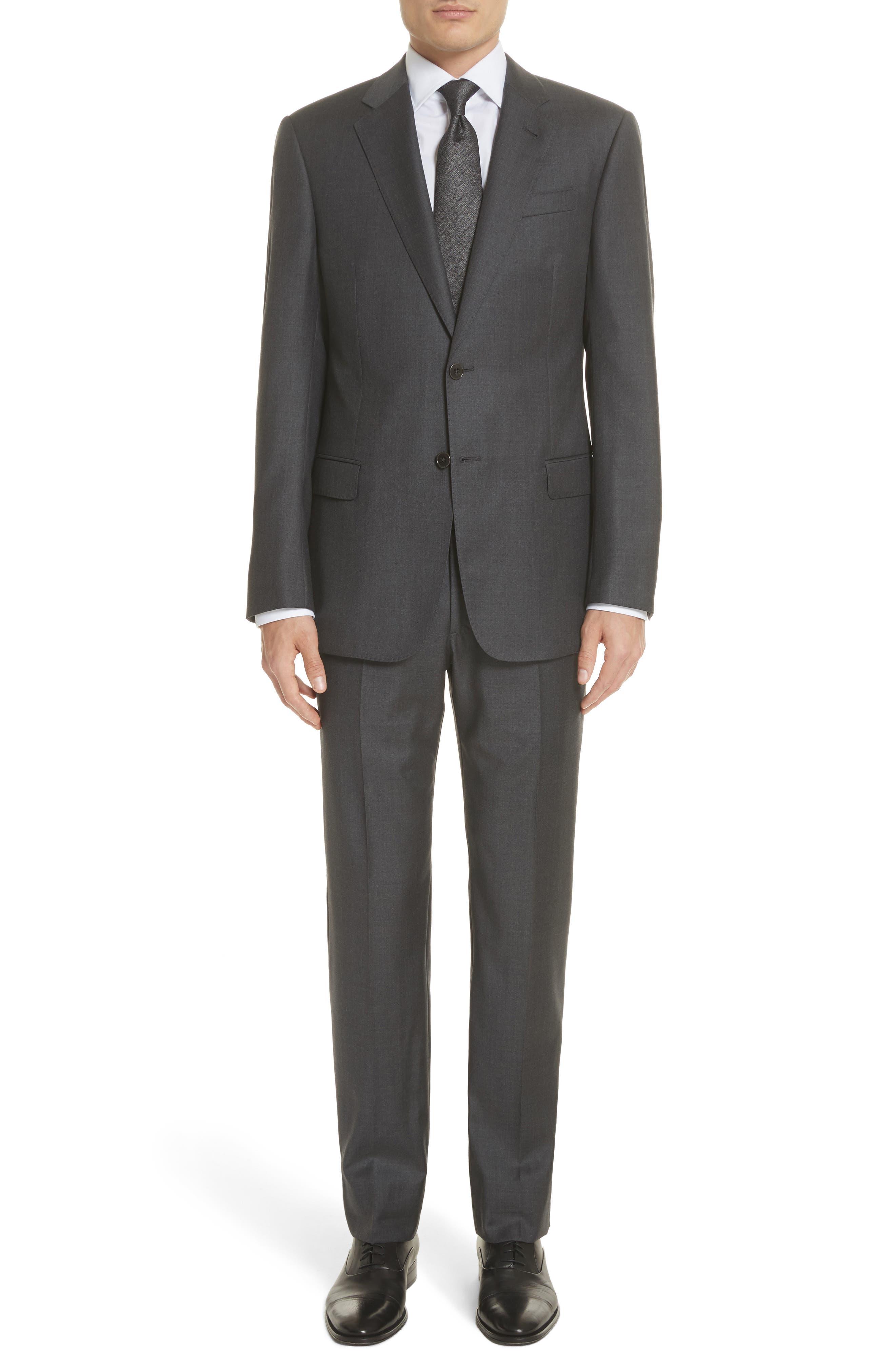 Trim Fit Solid Wool Suit,                         Main,                         color, Grey