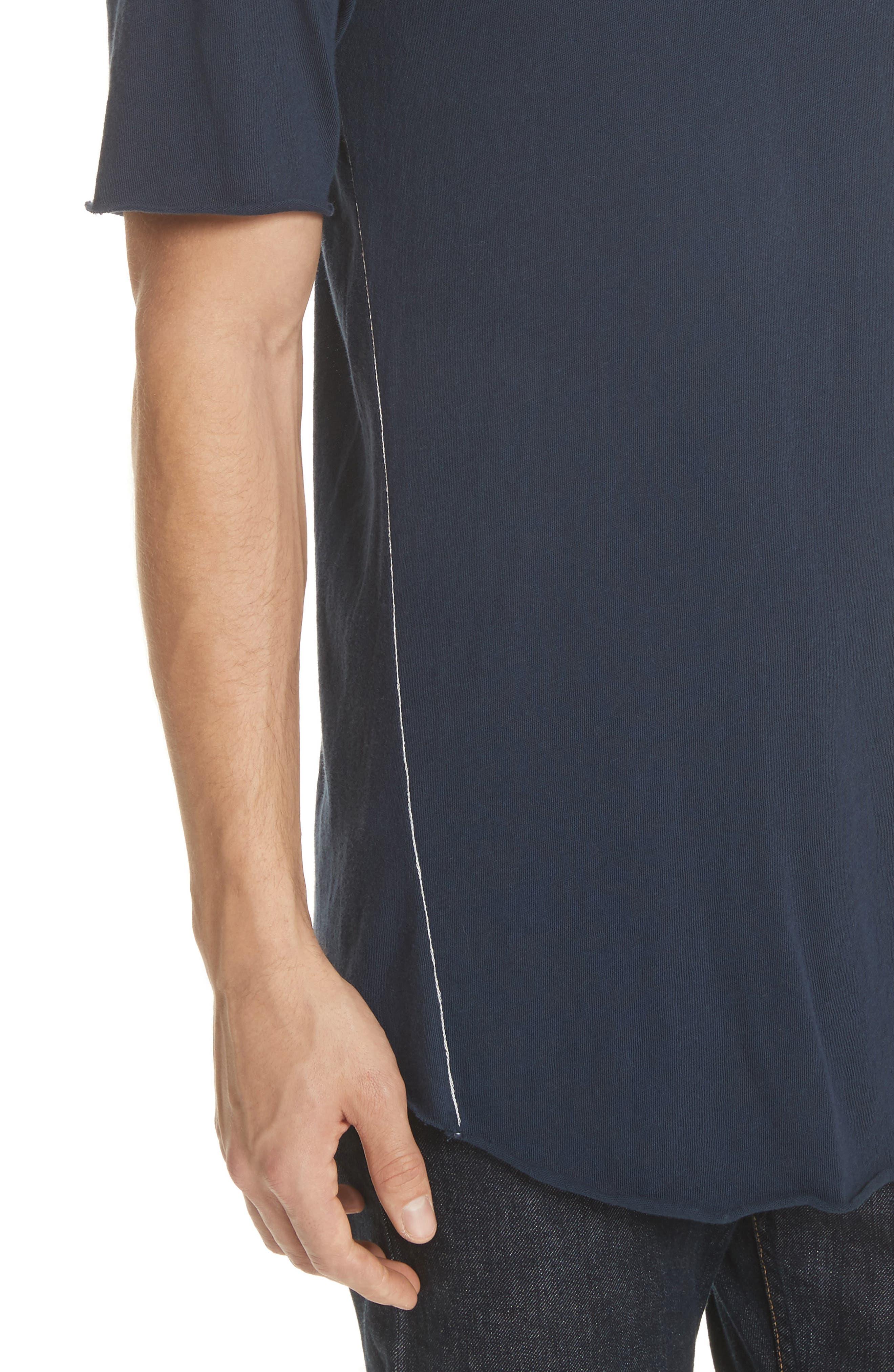 Hartley Crewneck Cotton & Linen T-Shirt,                             Alternate thumbnail 4, color,                             Navy