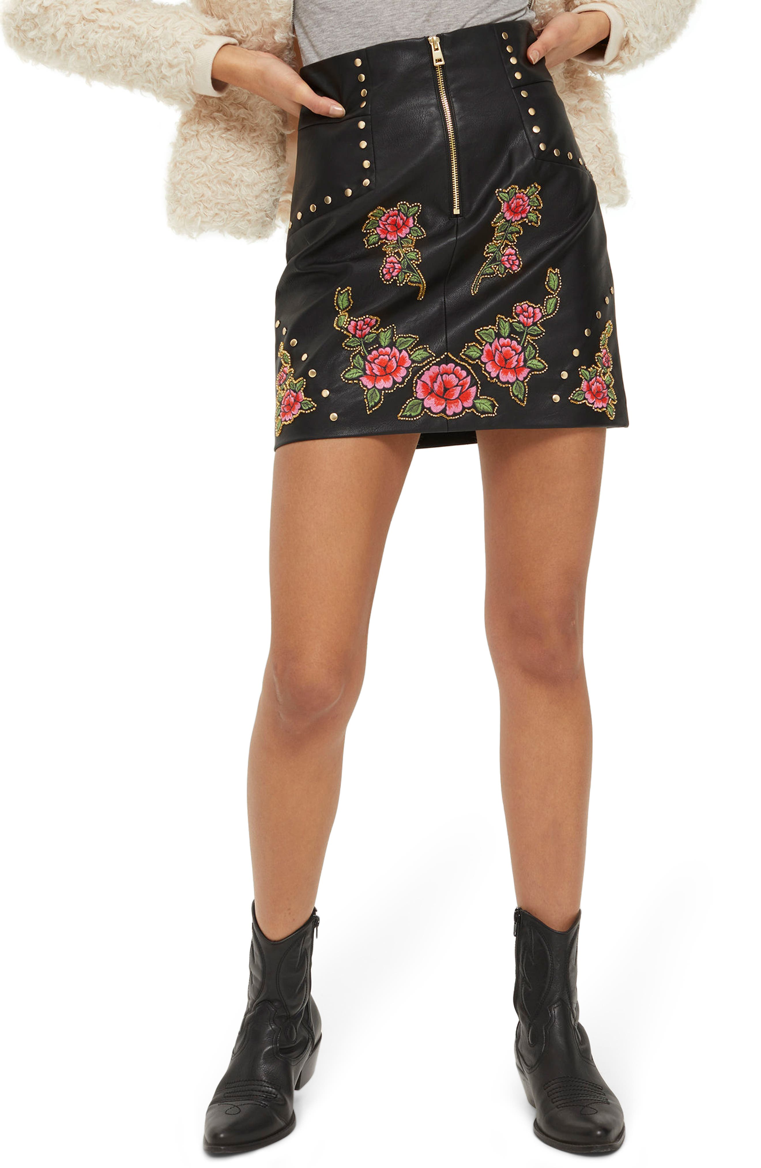 Embellished Floral Faux Leather Skirt,                         Main,                         color, Black Multi