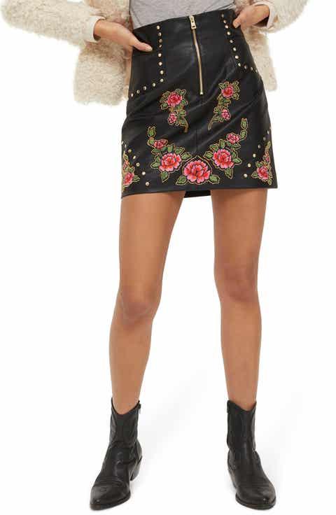 Topshop Embellished Floral Faux Leather Skirt