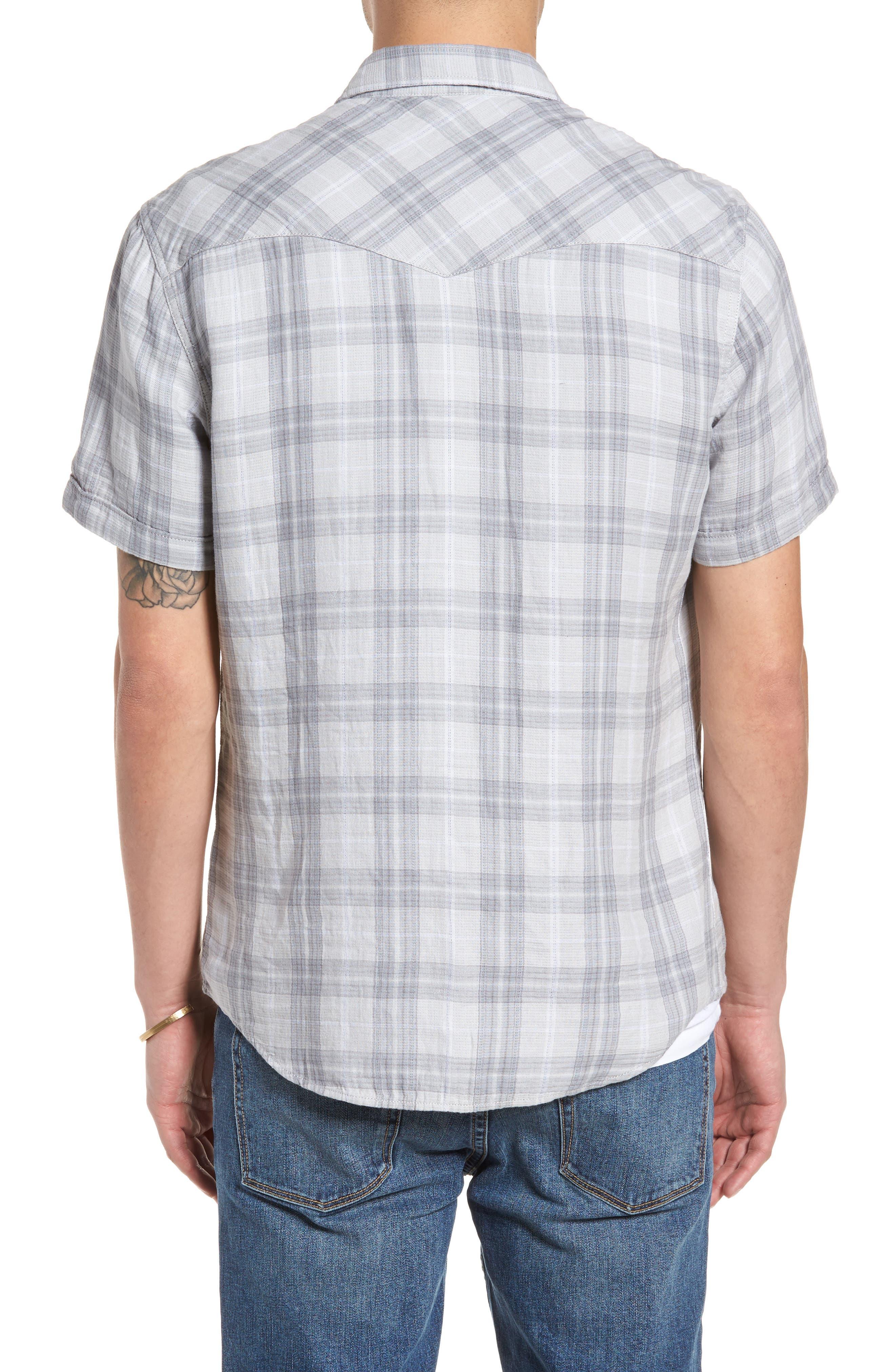 Plaid Short Sleeve Sport Shirt,                             Alternate thumbnail 2, color,                             Grey Sleet Plaid Duofold