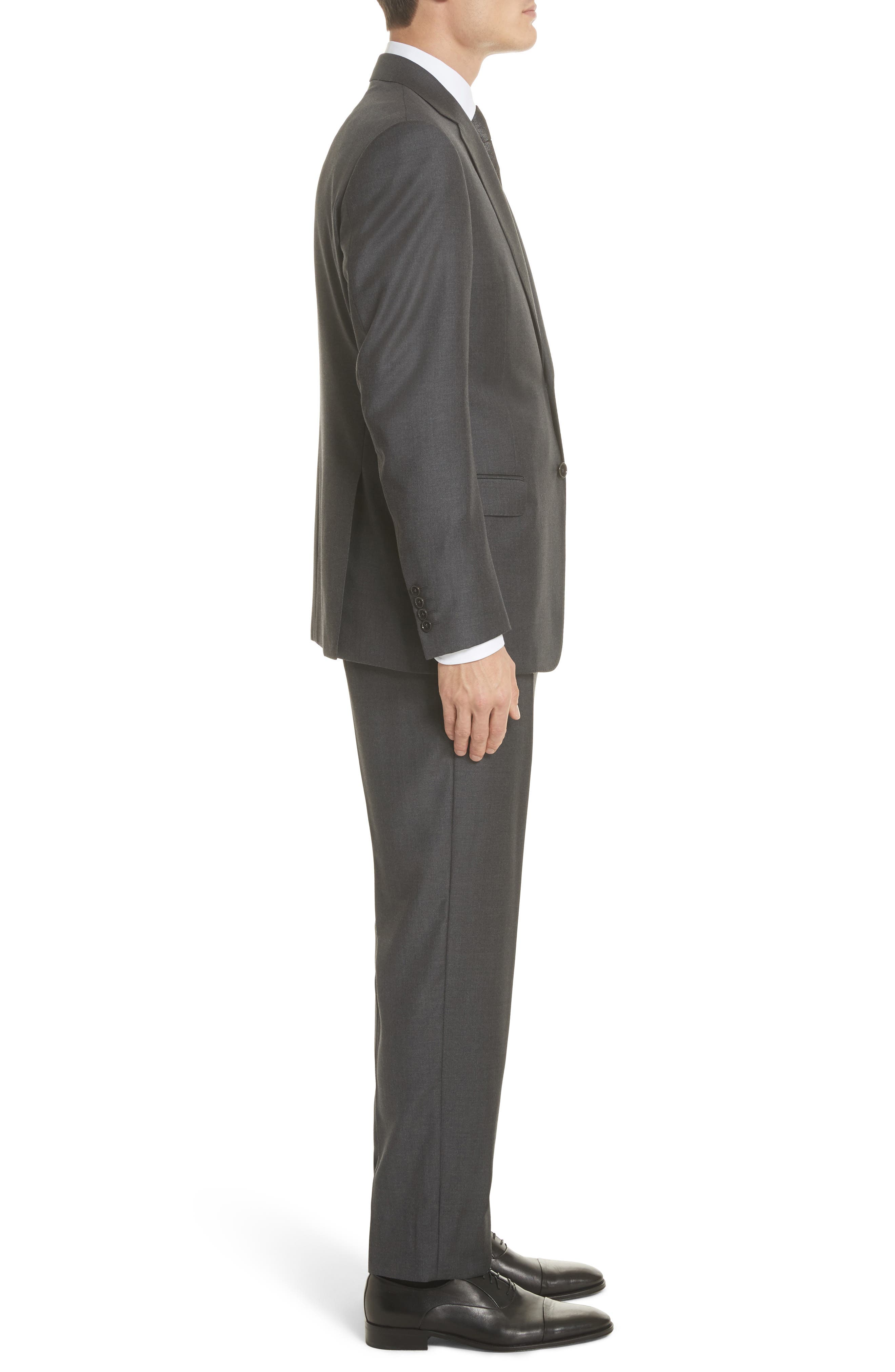 Trim Fit Solid Wool Suit,                             Alternate thumbnail 3, color,                             Grey