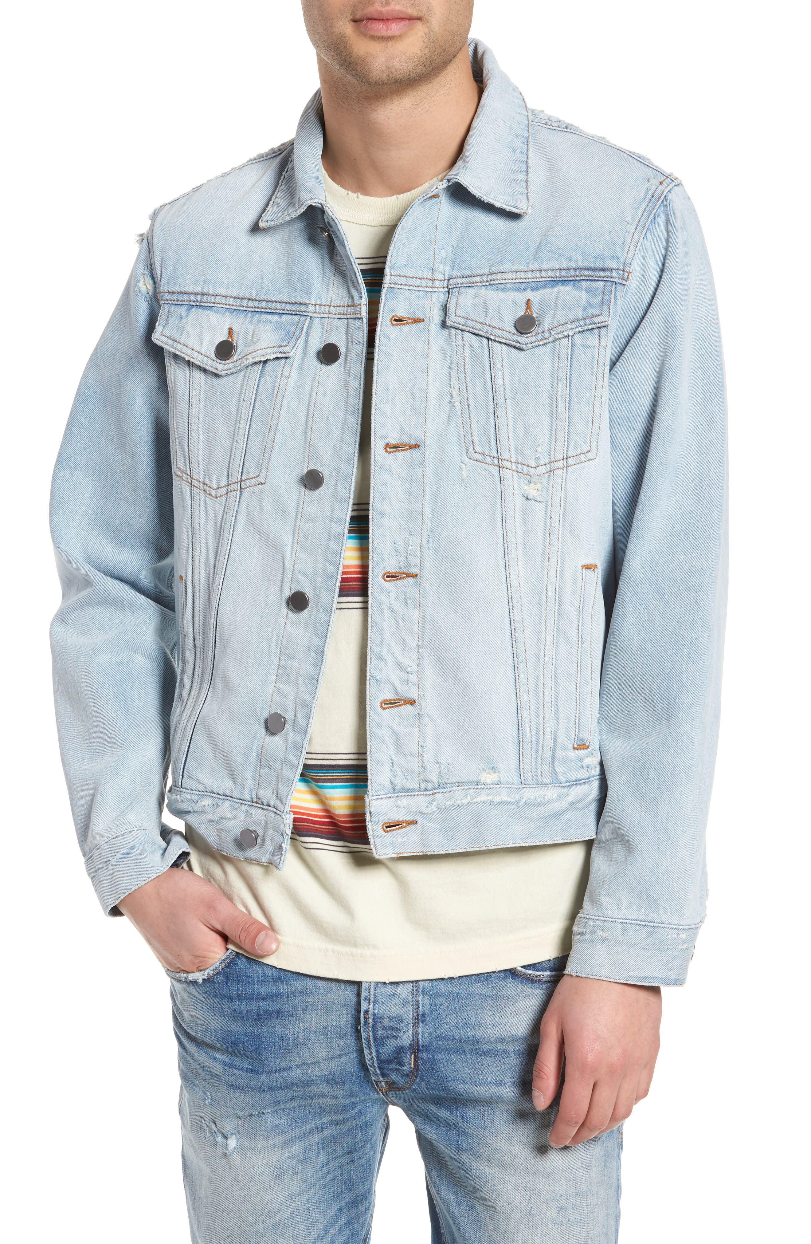 Destroyed Trucker Jacket,                             Main thumbnail 1, color,                             Light Blue Wash