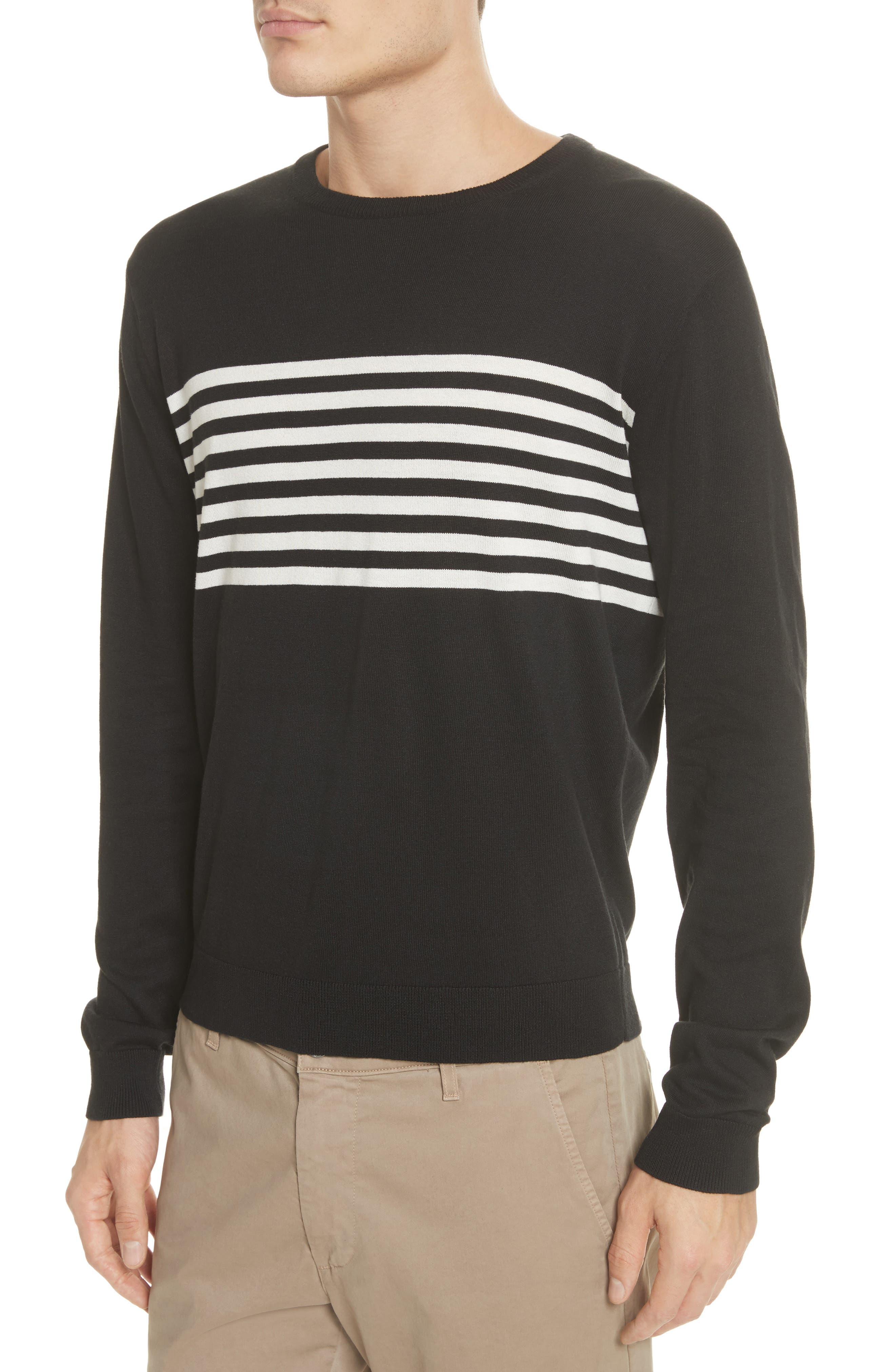 Stripe Silk & Cotton Sweater,                             Alternate thumbnail 4, color,                             Black