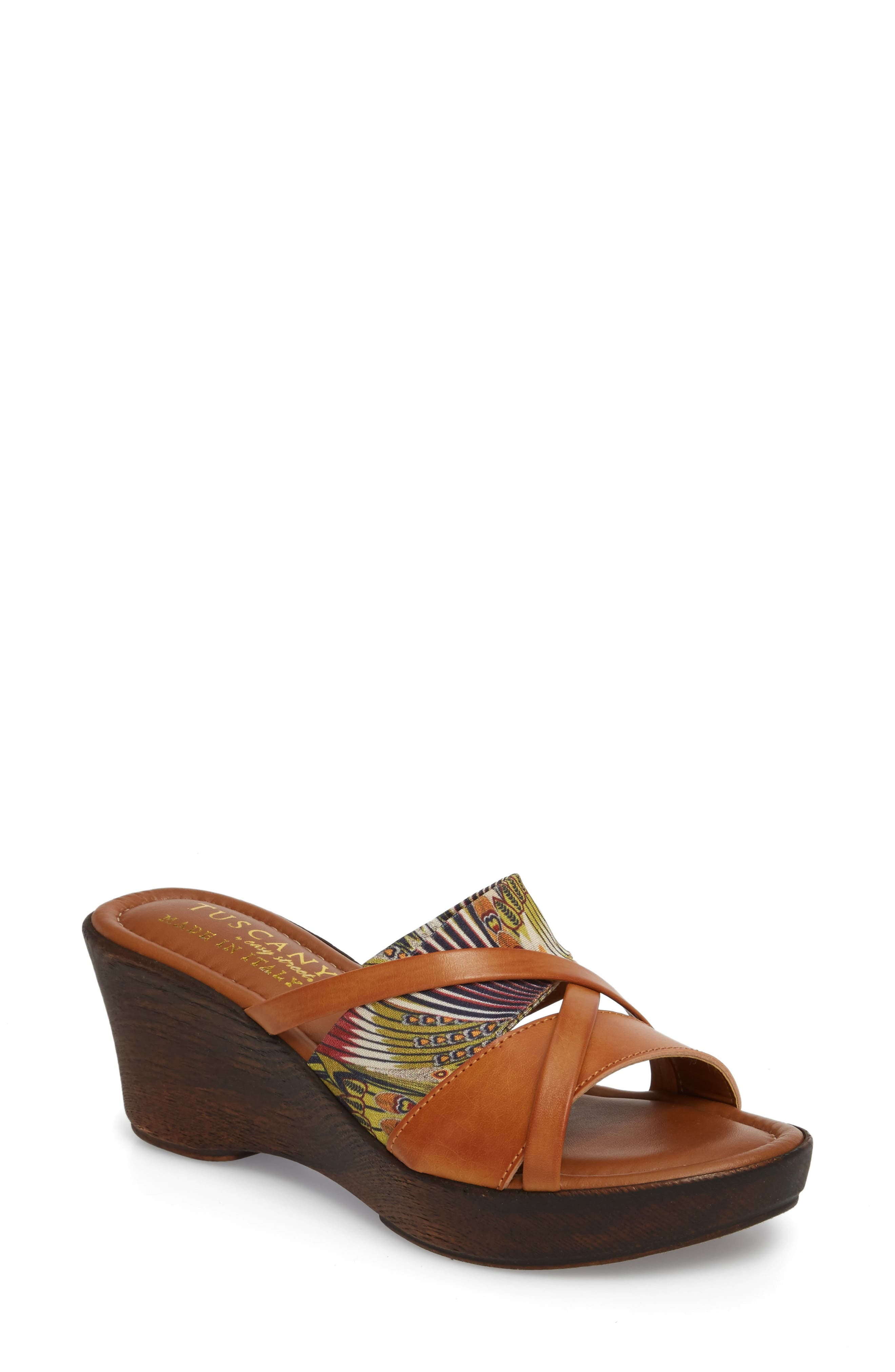 by East Street<sup>®</sup> Lucette Strappy Wedge Mule,                         Main,                         color, Natural/ Feather Faux Leather